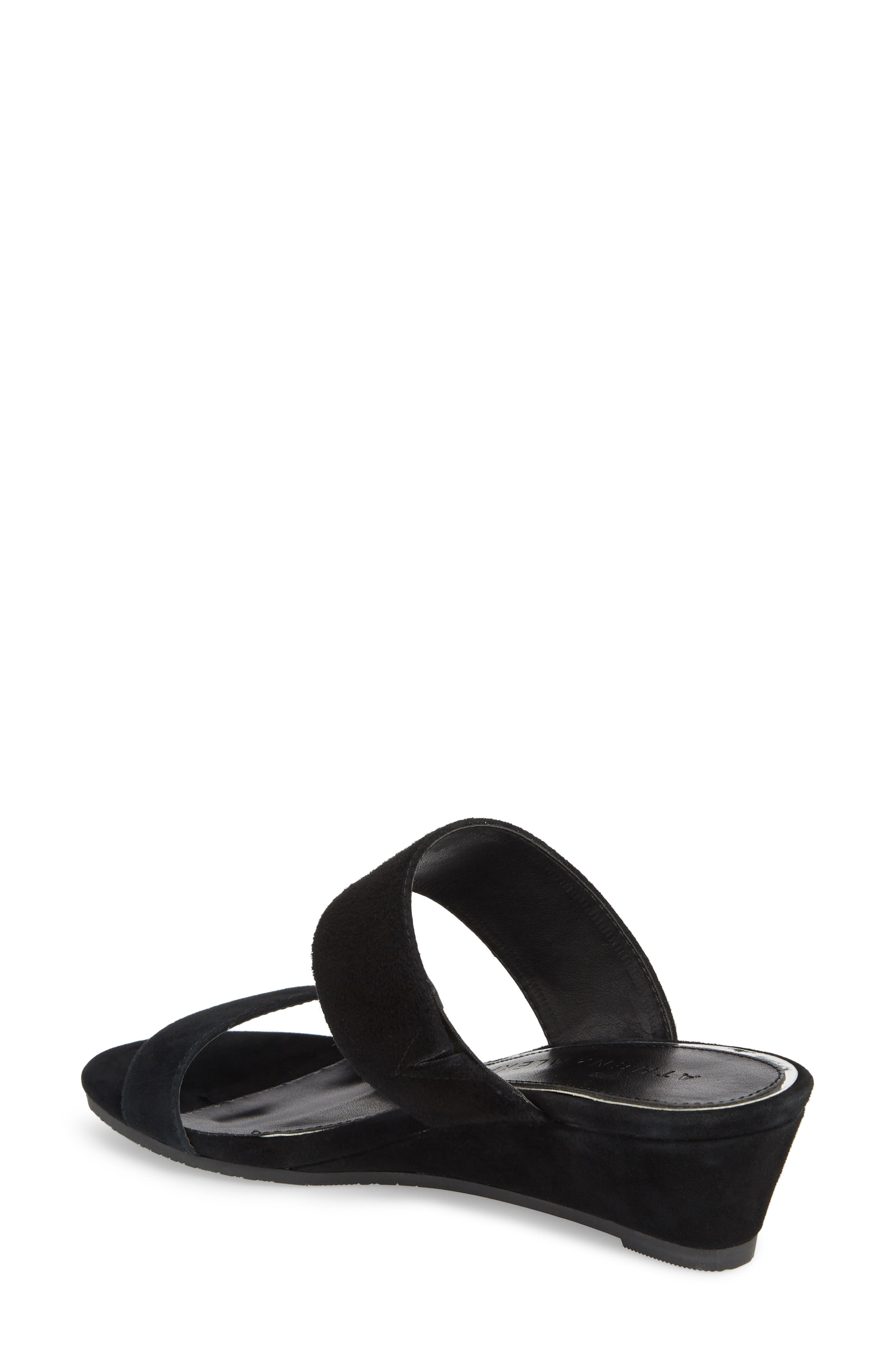 Burlington Wedge Slide Sandal,                             Alternate thumbnail 2, color,                             BLACK SUEDE