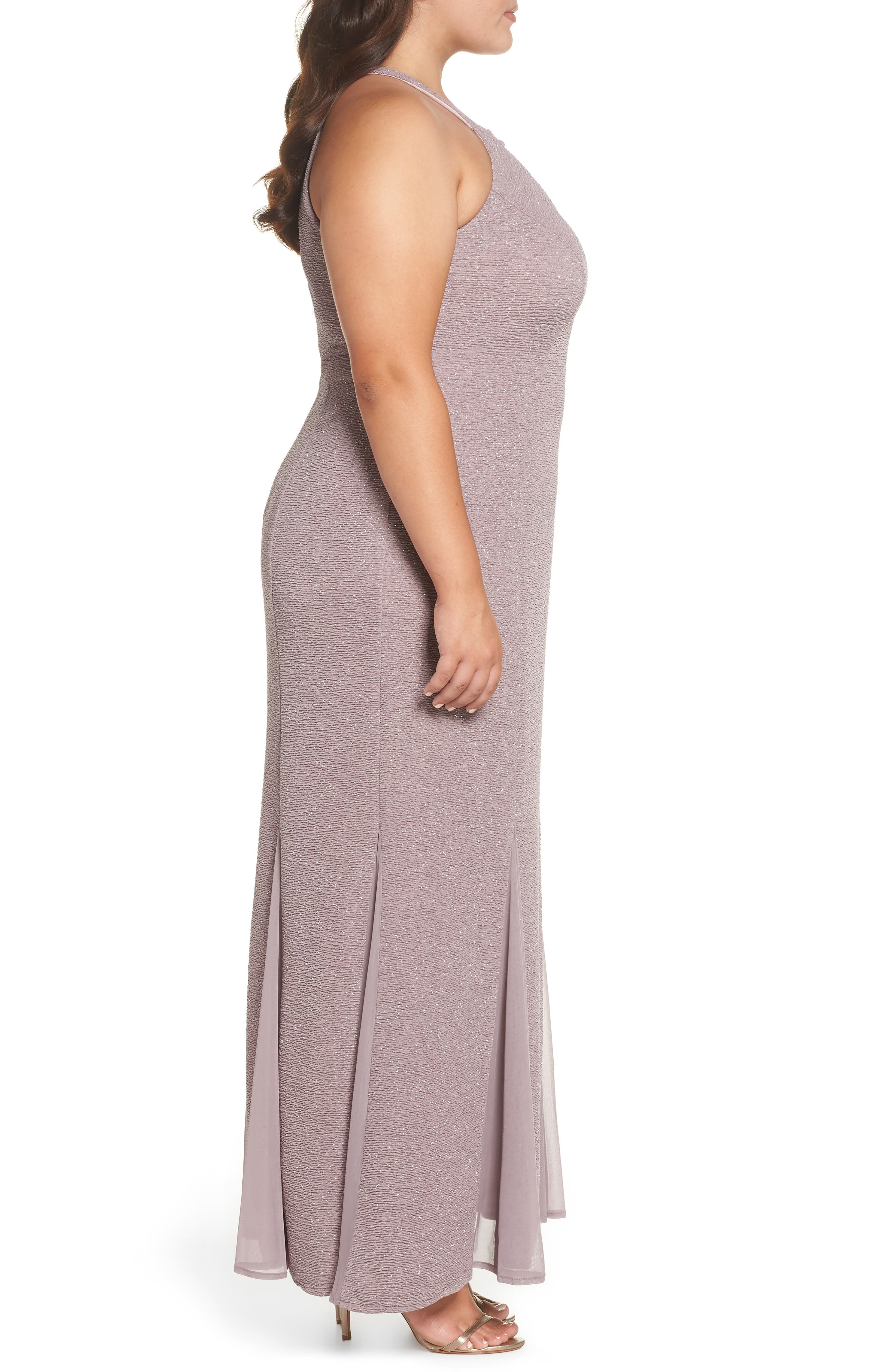 Keyhole Glitter Knit Trumpet Gown,                             Alternate thumbnail 3, color,                             CHAMPAGNE