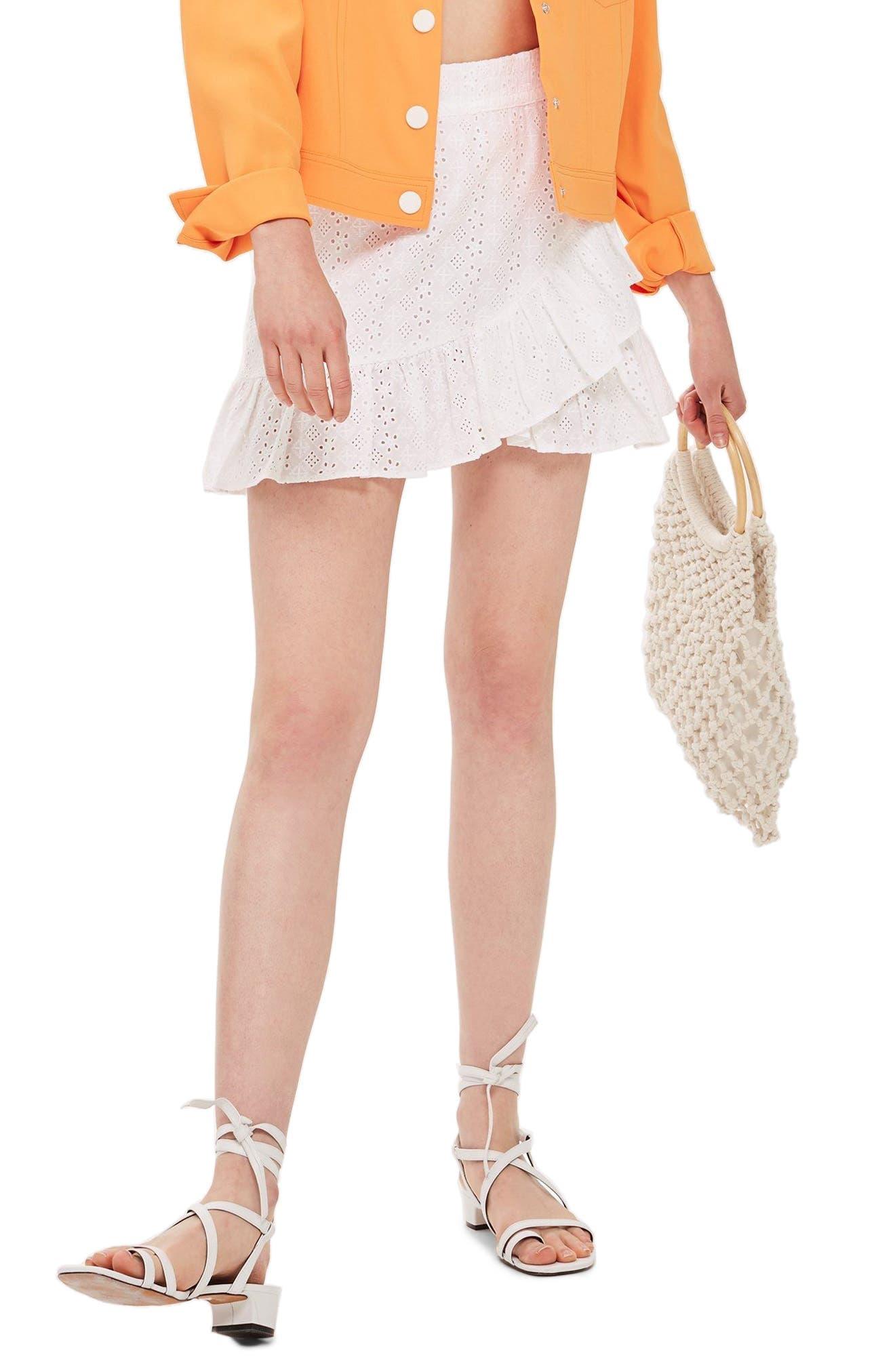 Broderie Ruffle Miniskirt,                         Main,                         color, WHITE