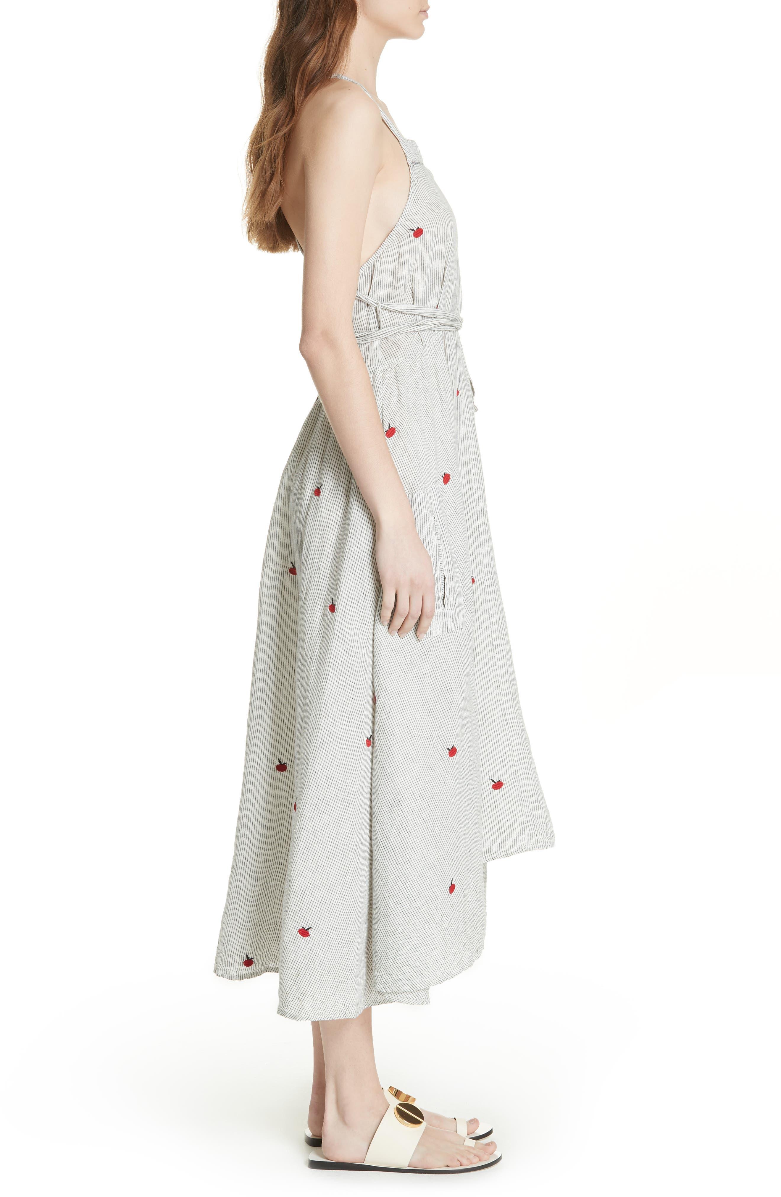 The Apron Dress,                             Alternate thumbnail 3, color,                             BLACK/ WHITE/ APPLE