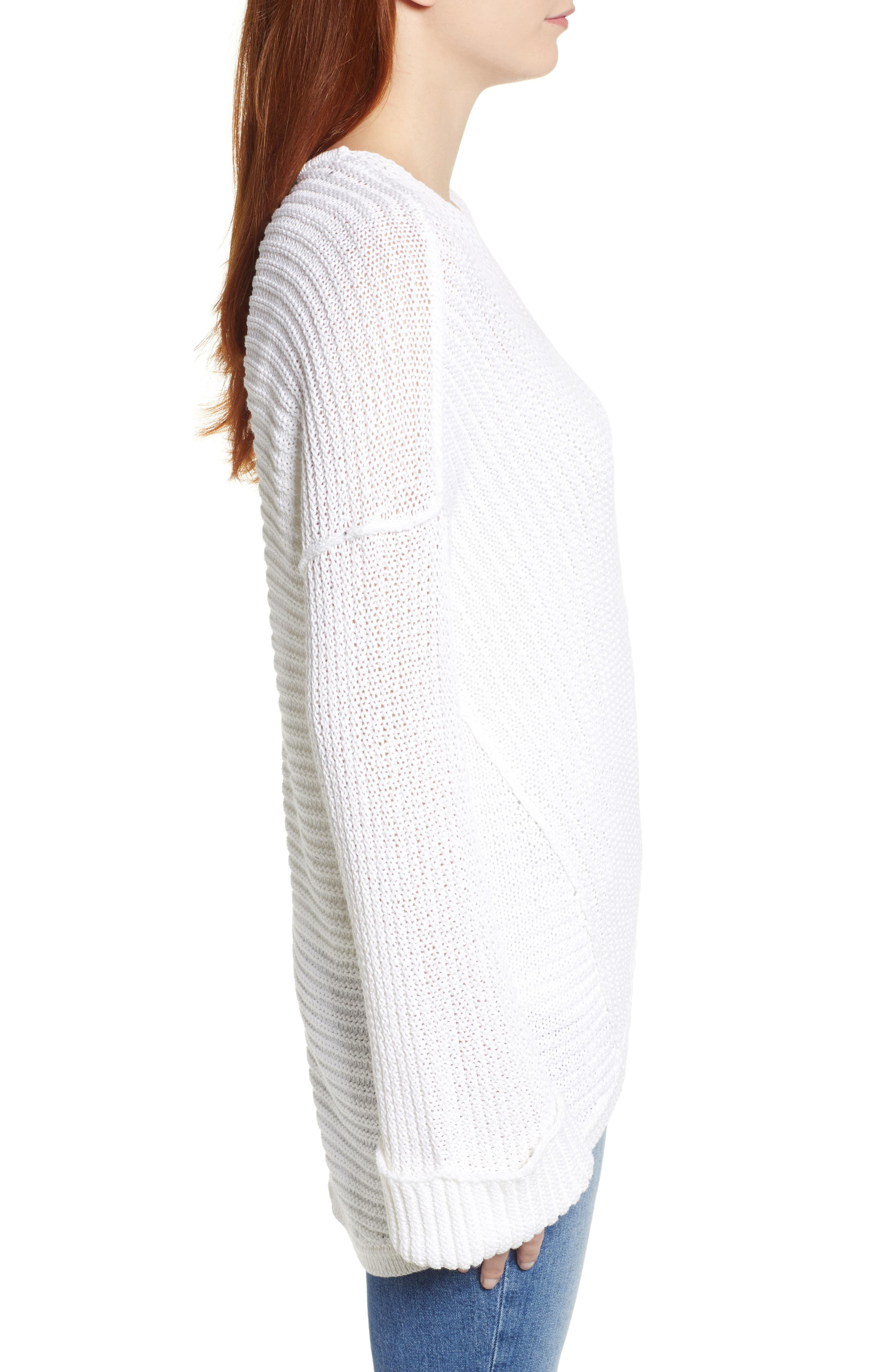 Cuffed Sleeve Sweater,                             Alternate thumbnail 3, color,                             100