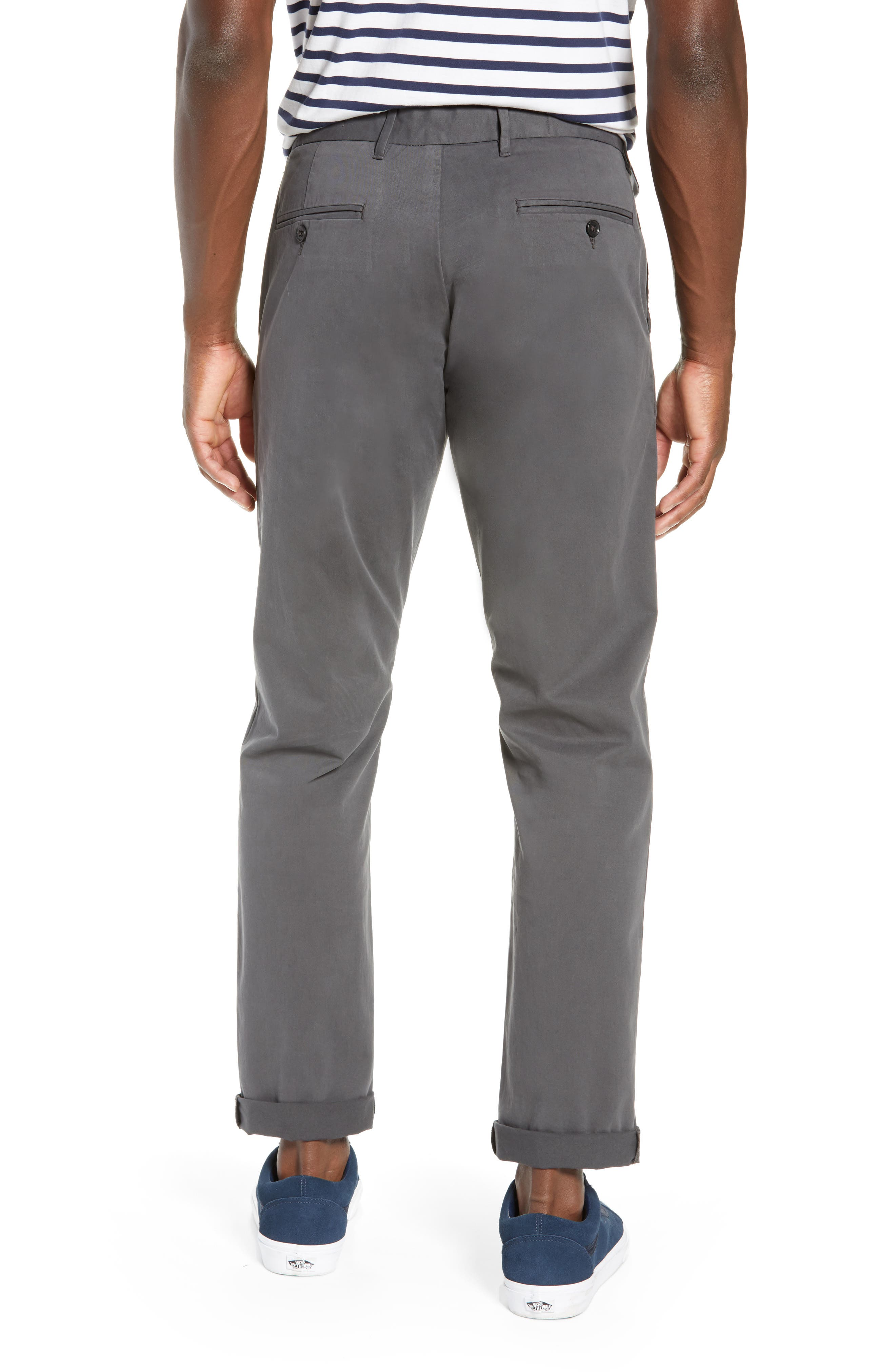 Fremont Flat Front Slim Fit Stretch Chino Pants,                             Alternate thumbnail 2, color,                             GREY ONYX
