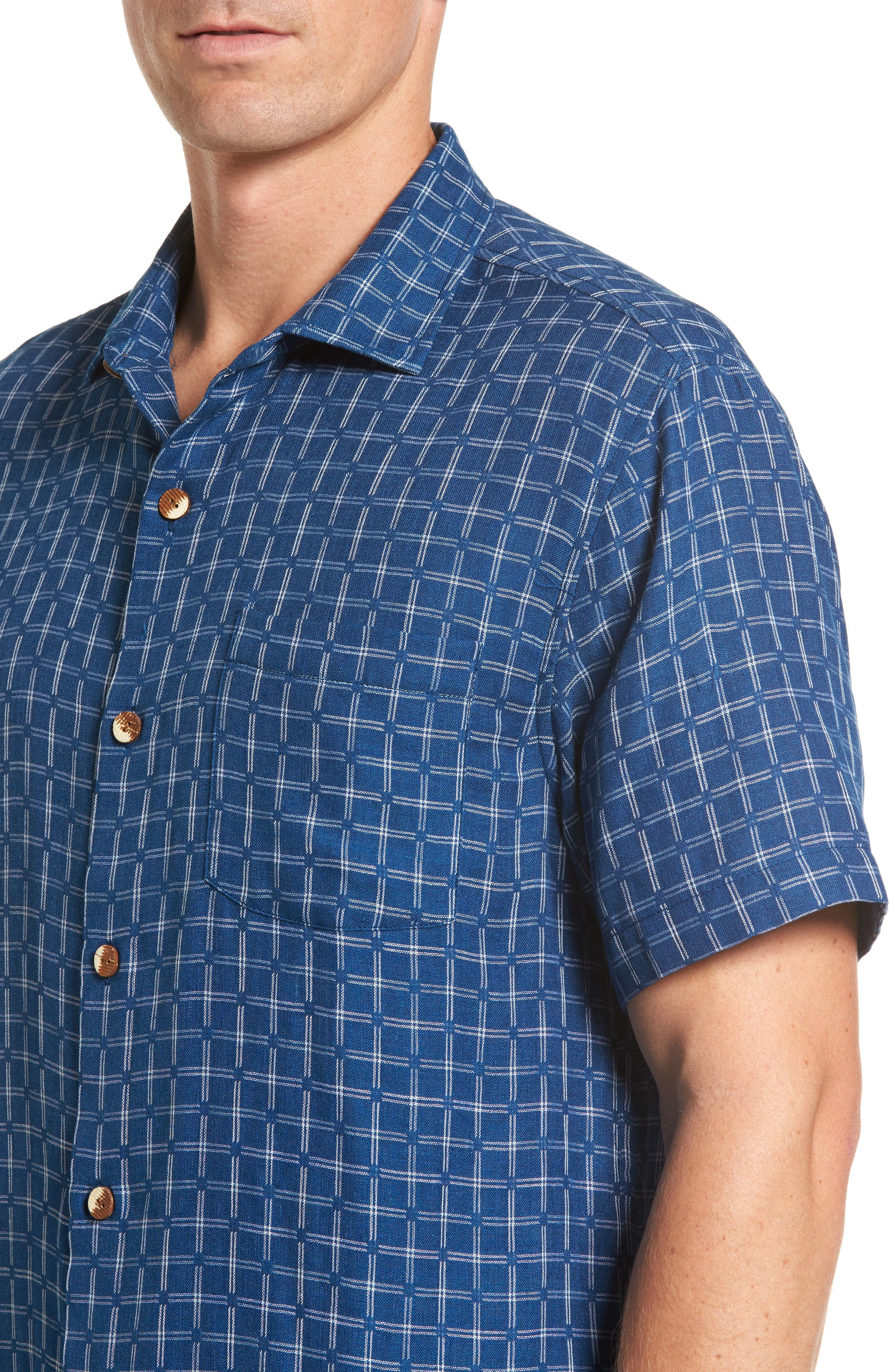 Keep It in Check Standard Fit Silk Blend Camp Shirt,                             Alternate thumbnail 4, color,                             400