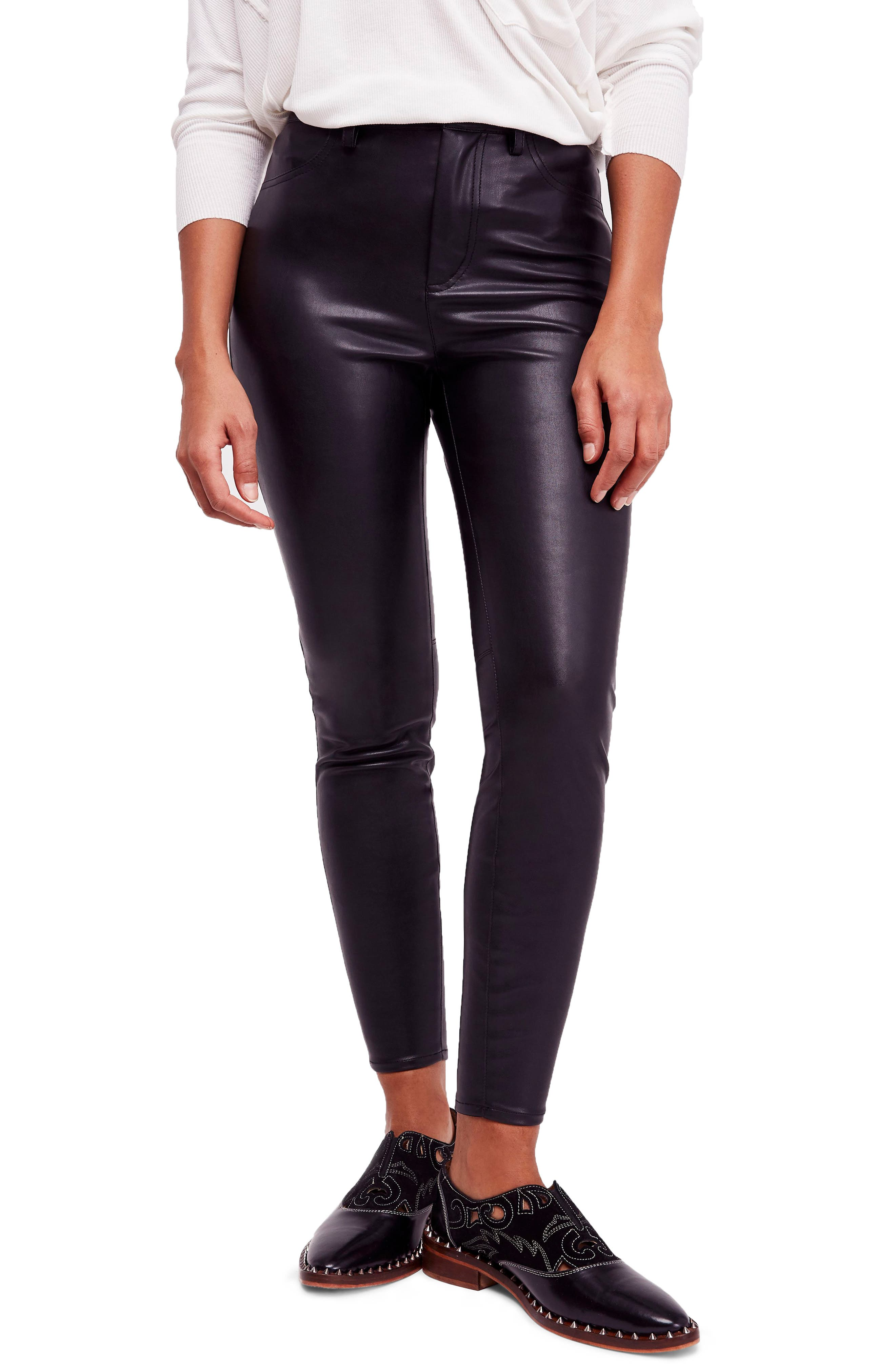 Long & Lean High Waist Leggings,                         Main,                         color, BLACK