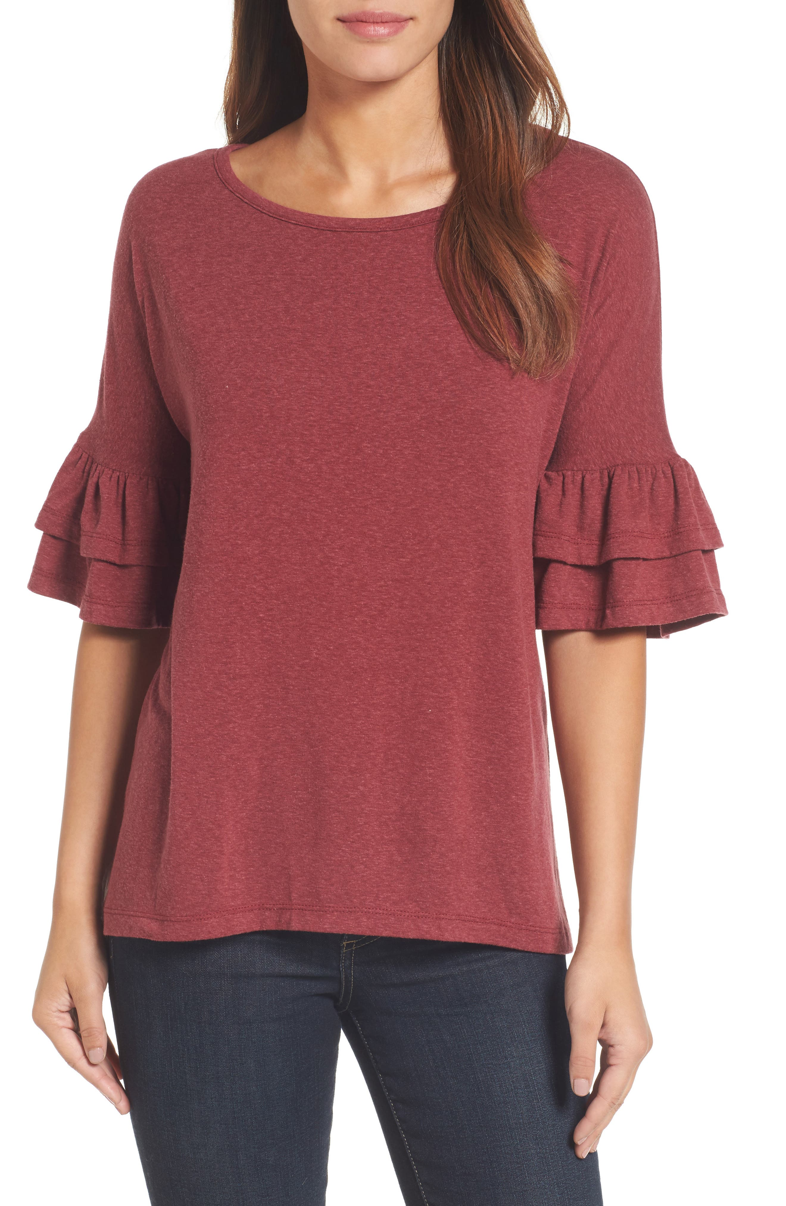 Tiered Bell Sleeve Tee,                             Main thumbnail 1, color,                             600