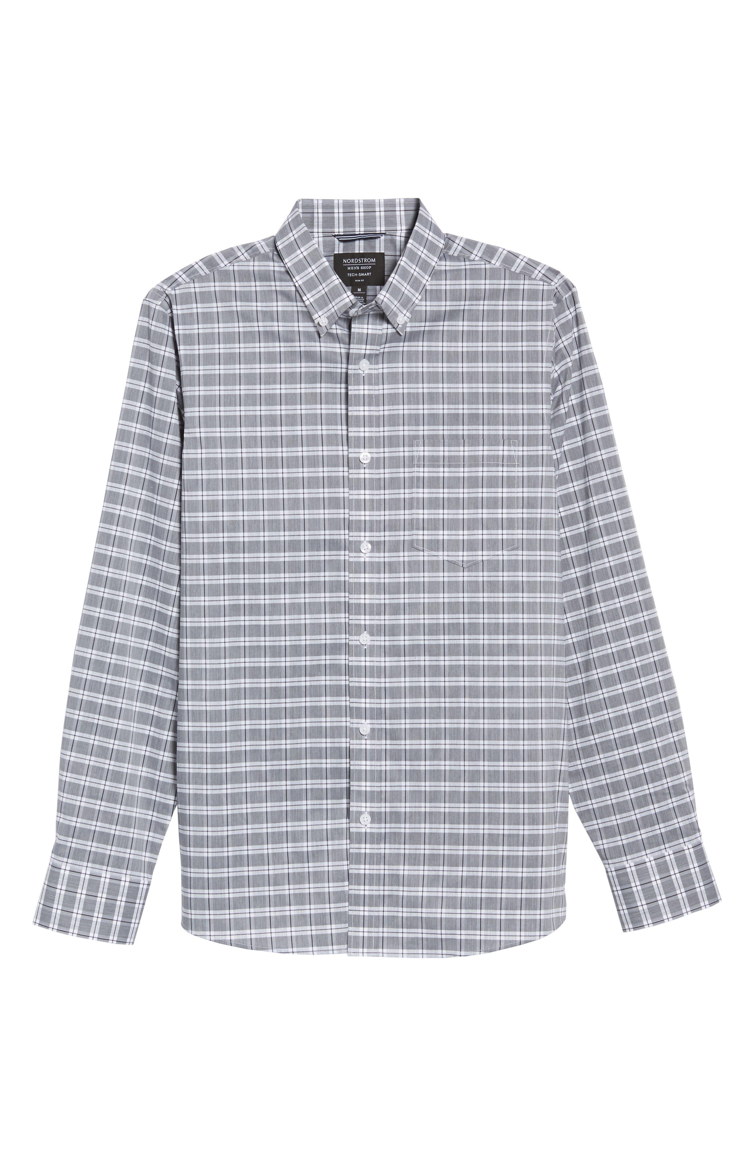 Trim Fit Tech-Smart Heather Check Sport Shirt,                             Alternate thumbnail 6, color,                             030