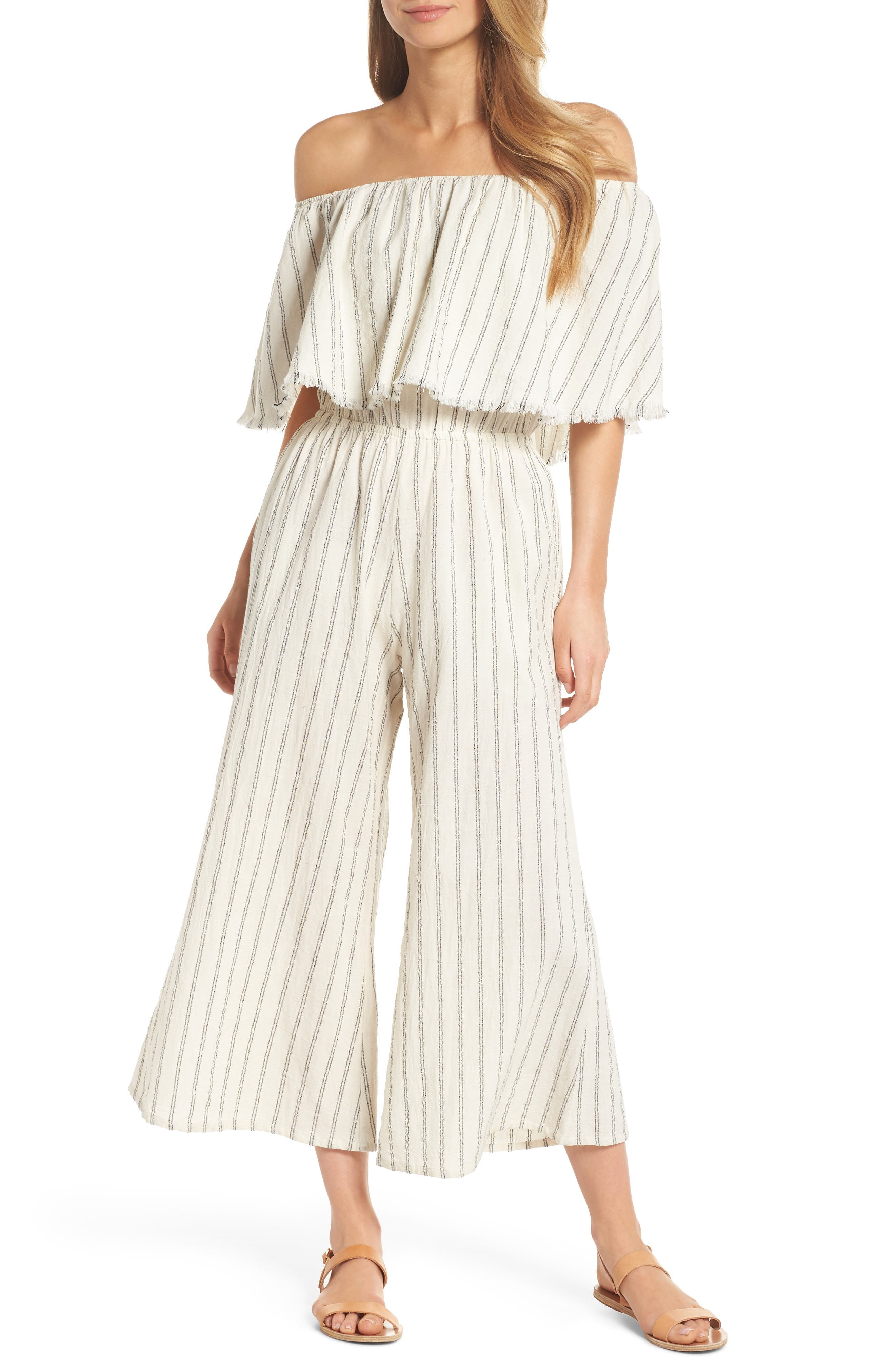 Ruffle Coulotte Cover-Up Jumpsuit,                             Main thumbnail 1, color,