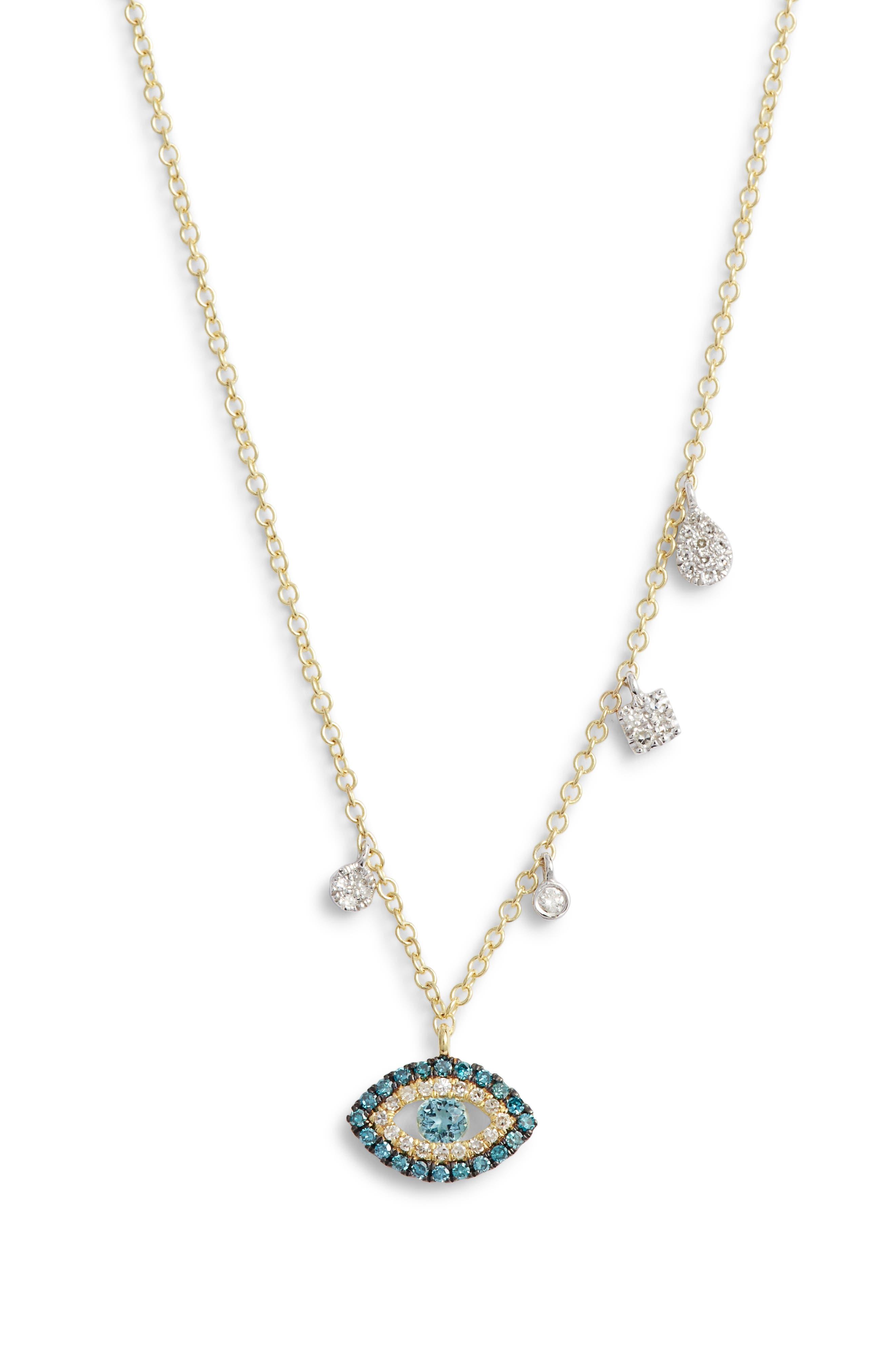 Evil Eye Diamond Pendant Necklace,                             Main thumbnail 1, color,                             GOLD/ DIAMOND
