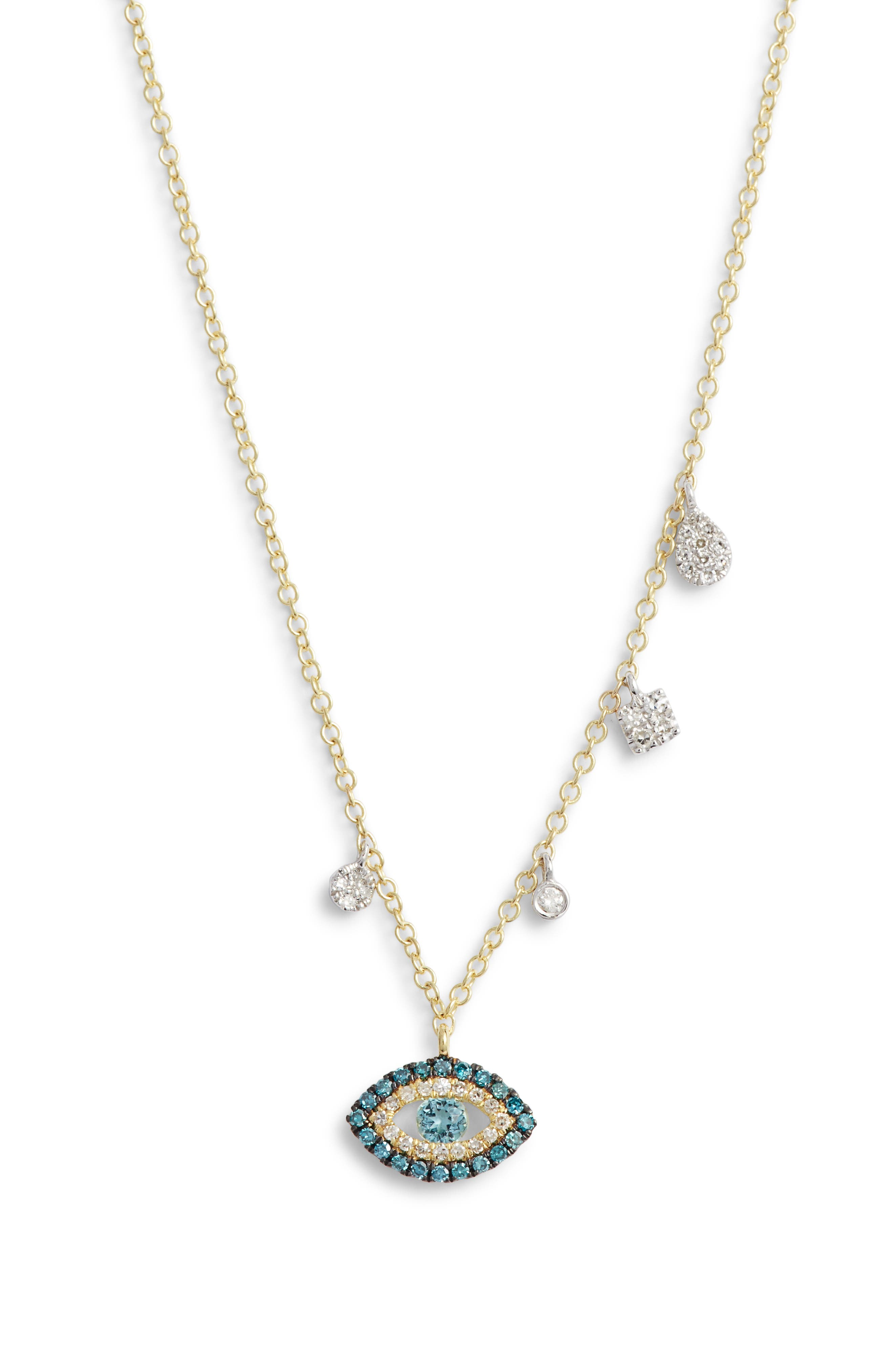 MEIRA T Evil Eye Diamond Pendant Necklace in Gold/ Diamond