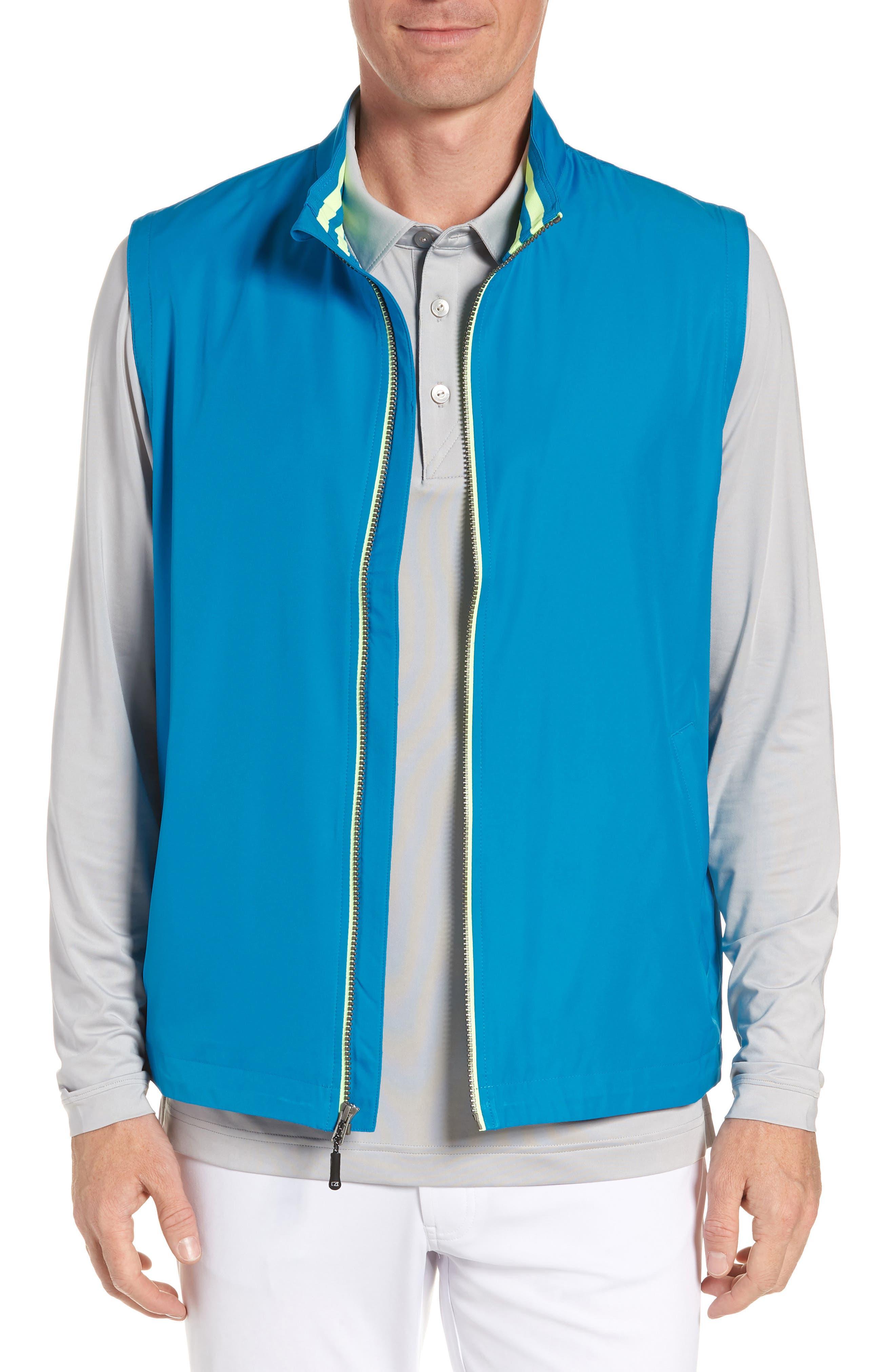 Cutter & Buck Nine Iron Drytec Zip Vest, Blue