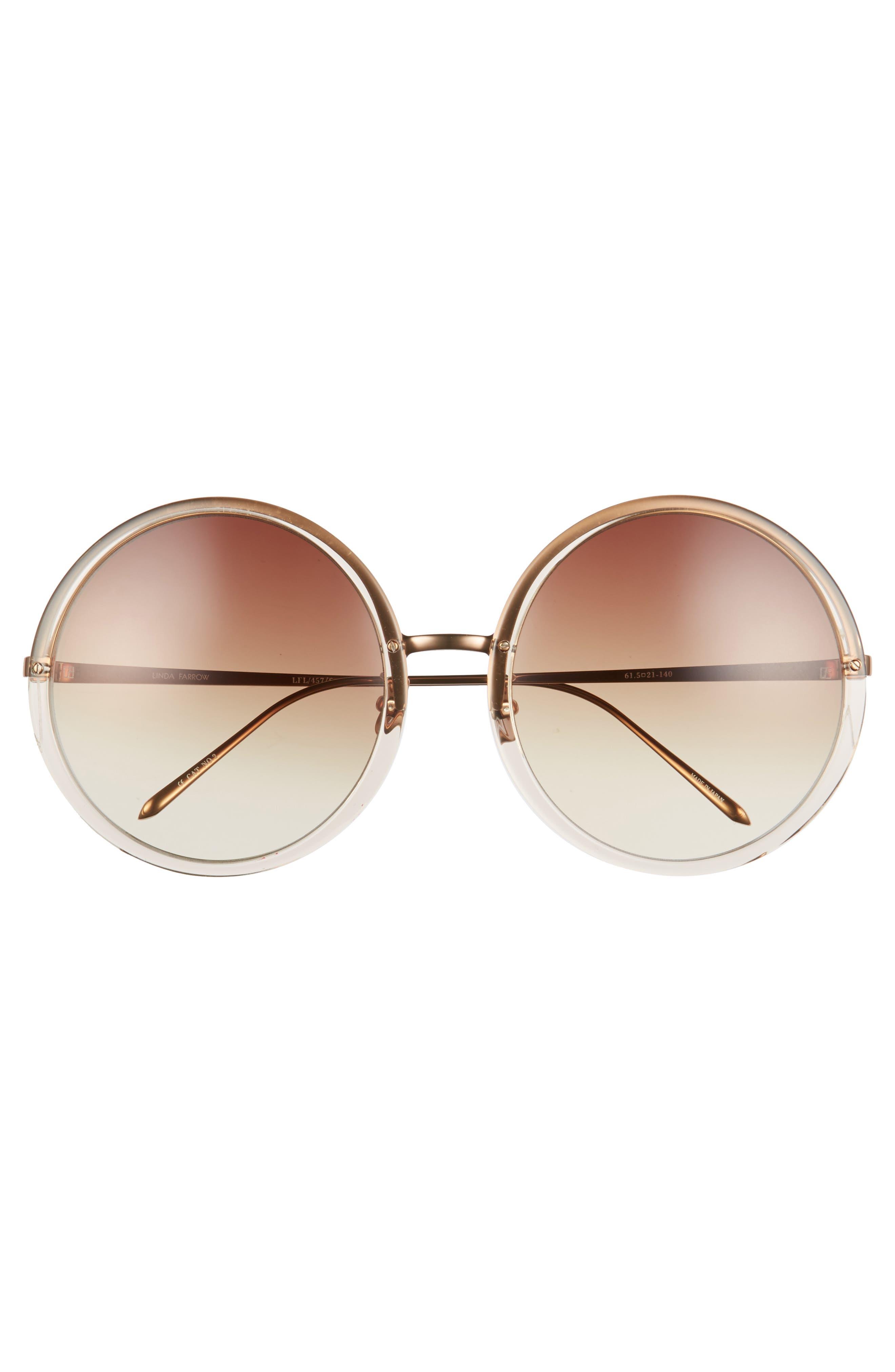 61mm Round 18 Karat Gold Trim Sunglasses,                             Alternate thumbnail 3, color,                             020