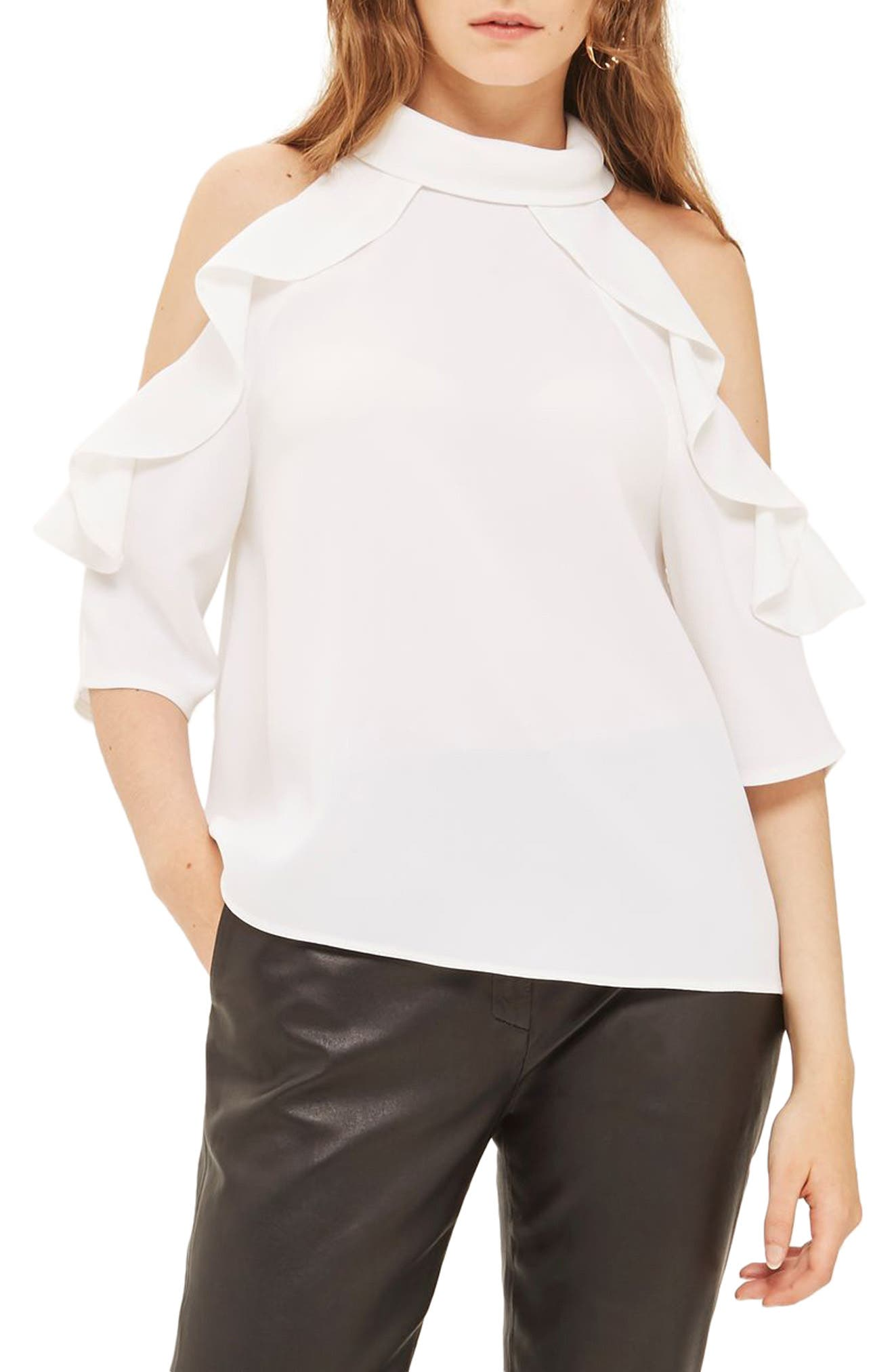 Ruffle Cold Shoulder Top,                             Main thumbnail 2, color,