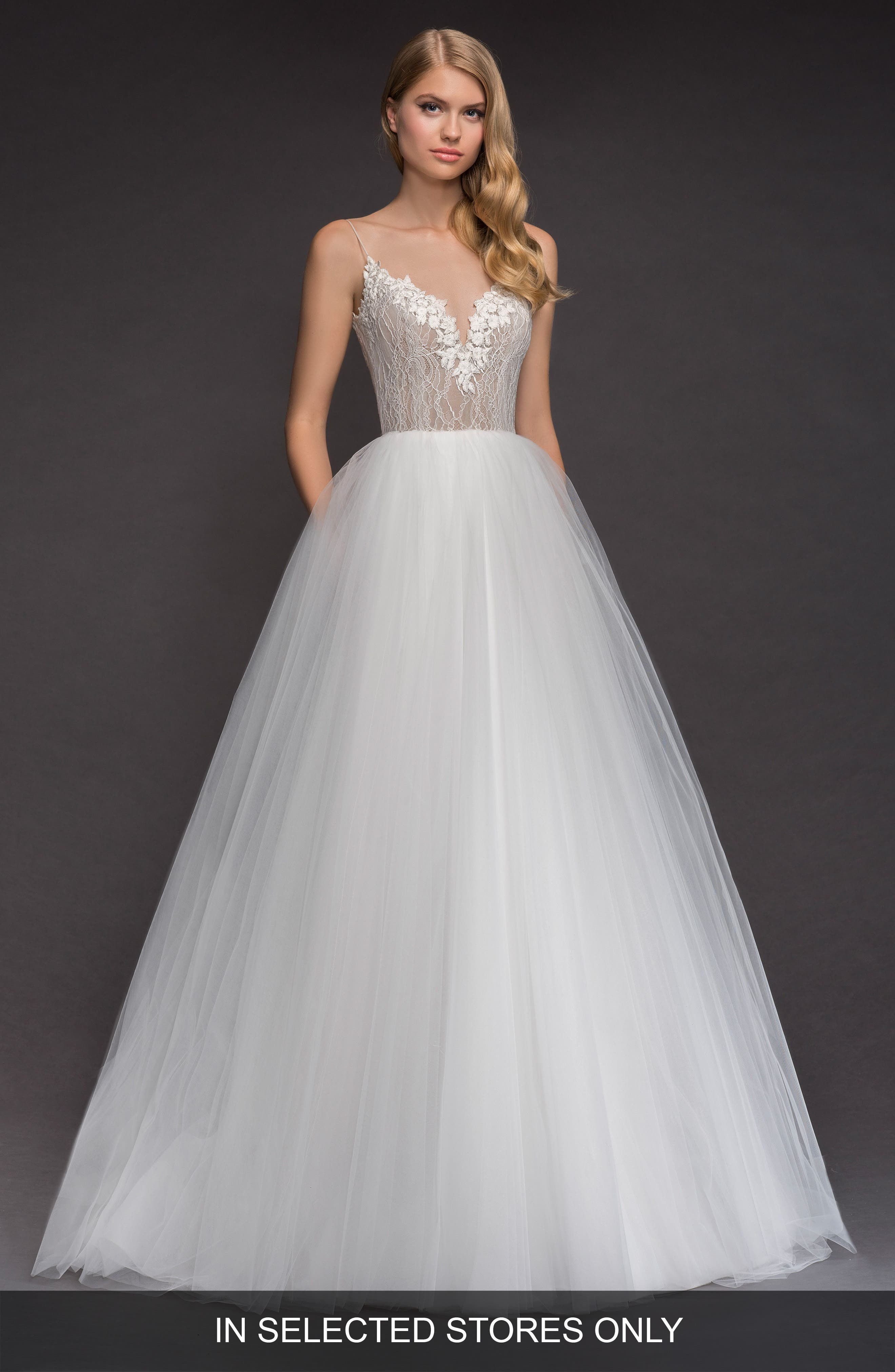 Brier Lace & Tulle Ballgown,                             Main thumbnail 1, color,                             IVORY
