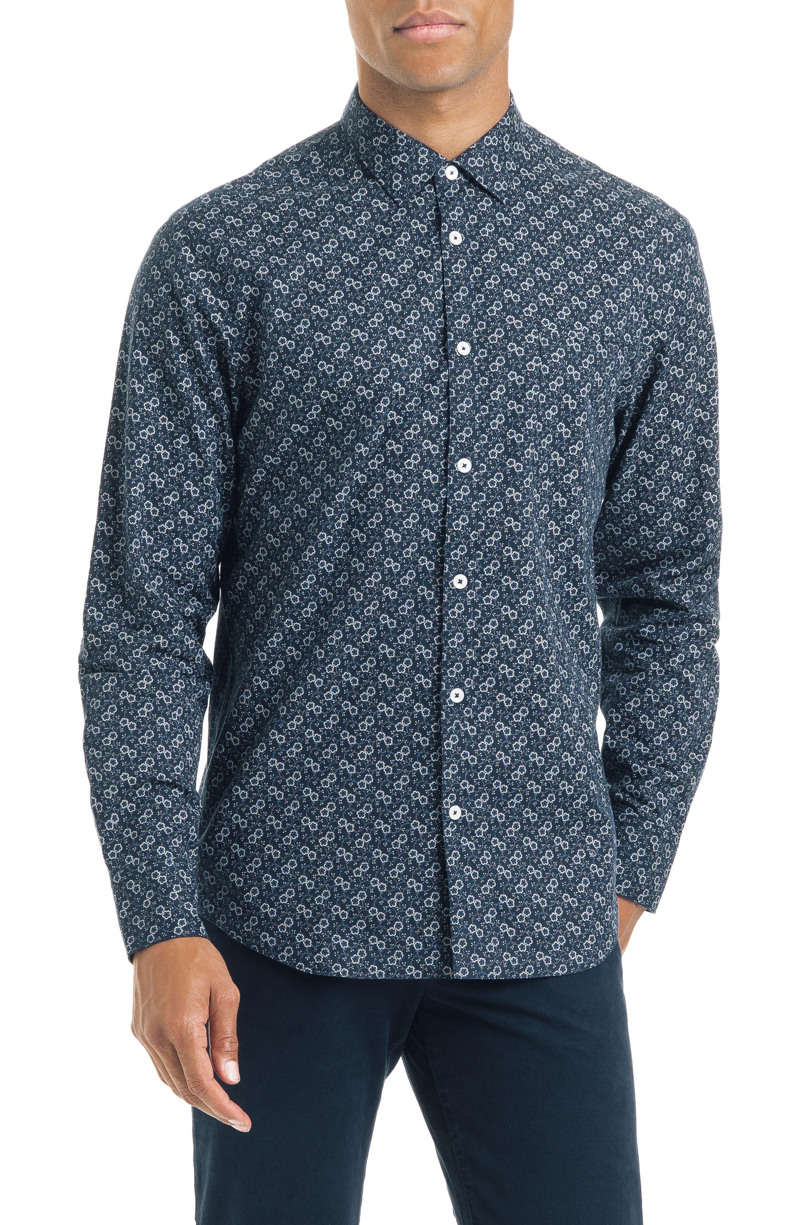 Floral Dot Slim Fit Sport Shirt,                         Main,                         color, NAVY