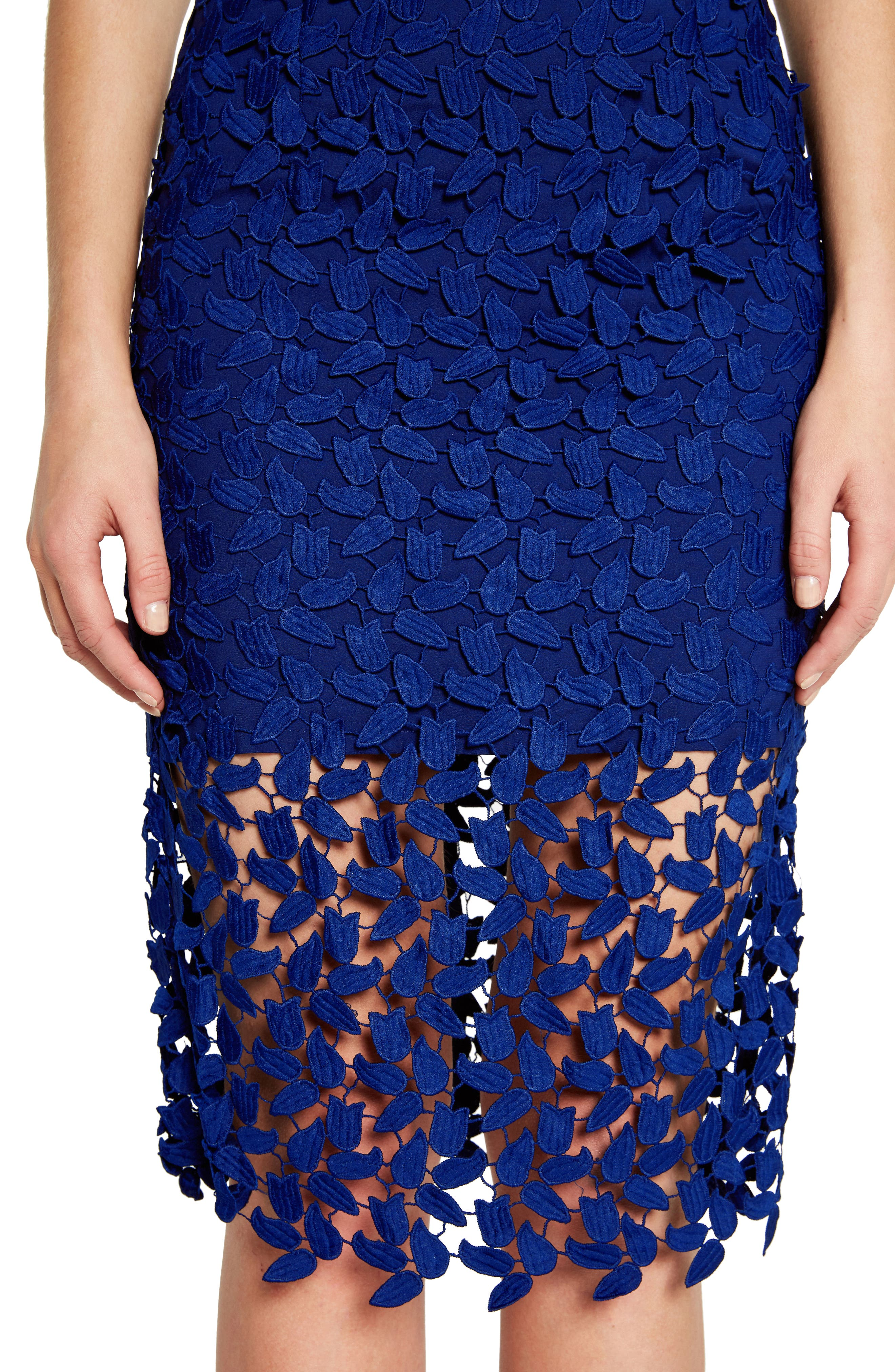 Gemma Halter Lace Sheath Dress,                             Alternate thumbnail 4, color,                             COBALT