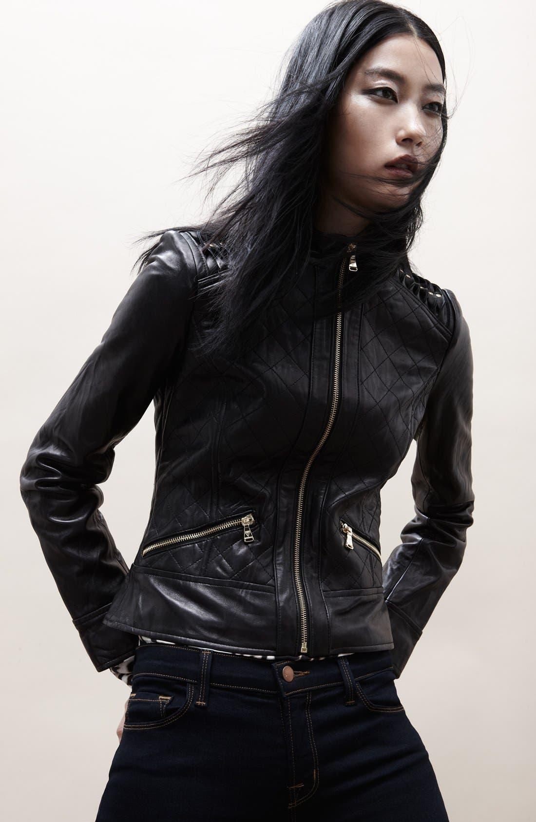 Shoulder Trim Quilted Leather Jacket,                             Alternate thumbnail 5, color,                             001