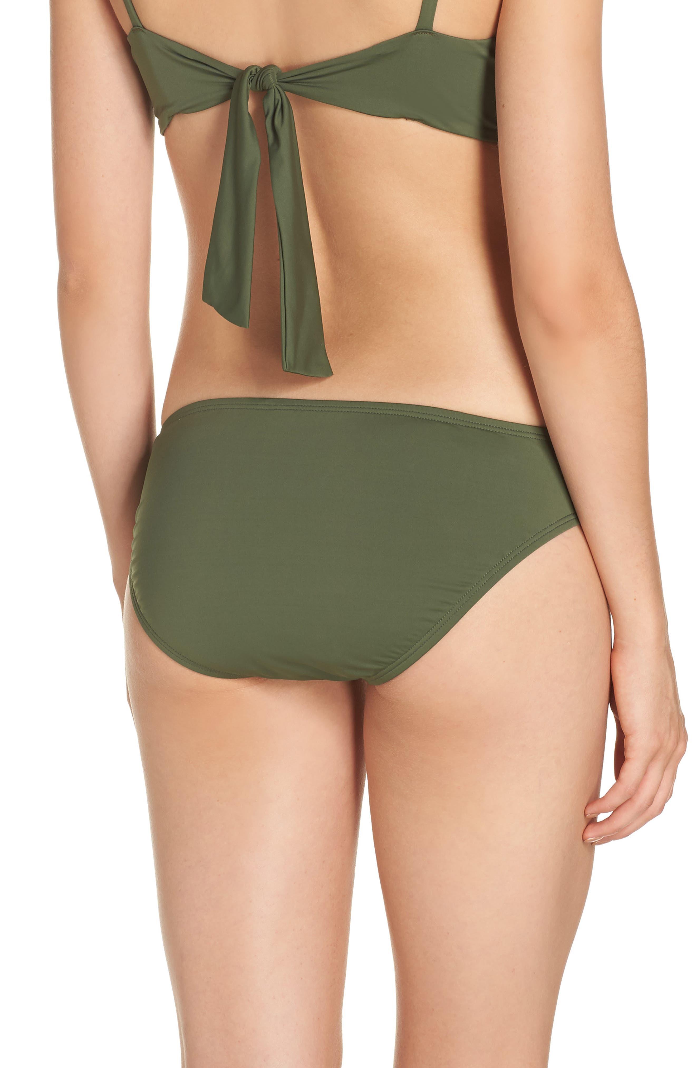 Side Shirred Hipster Bikini Bottoms,                             Alternate thumbnail 2, color,                             DARK TEA LEAF