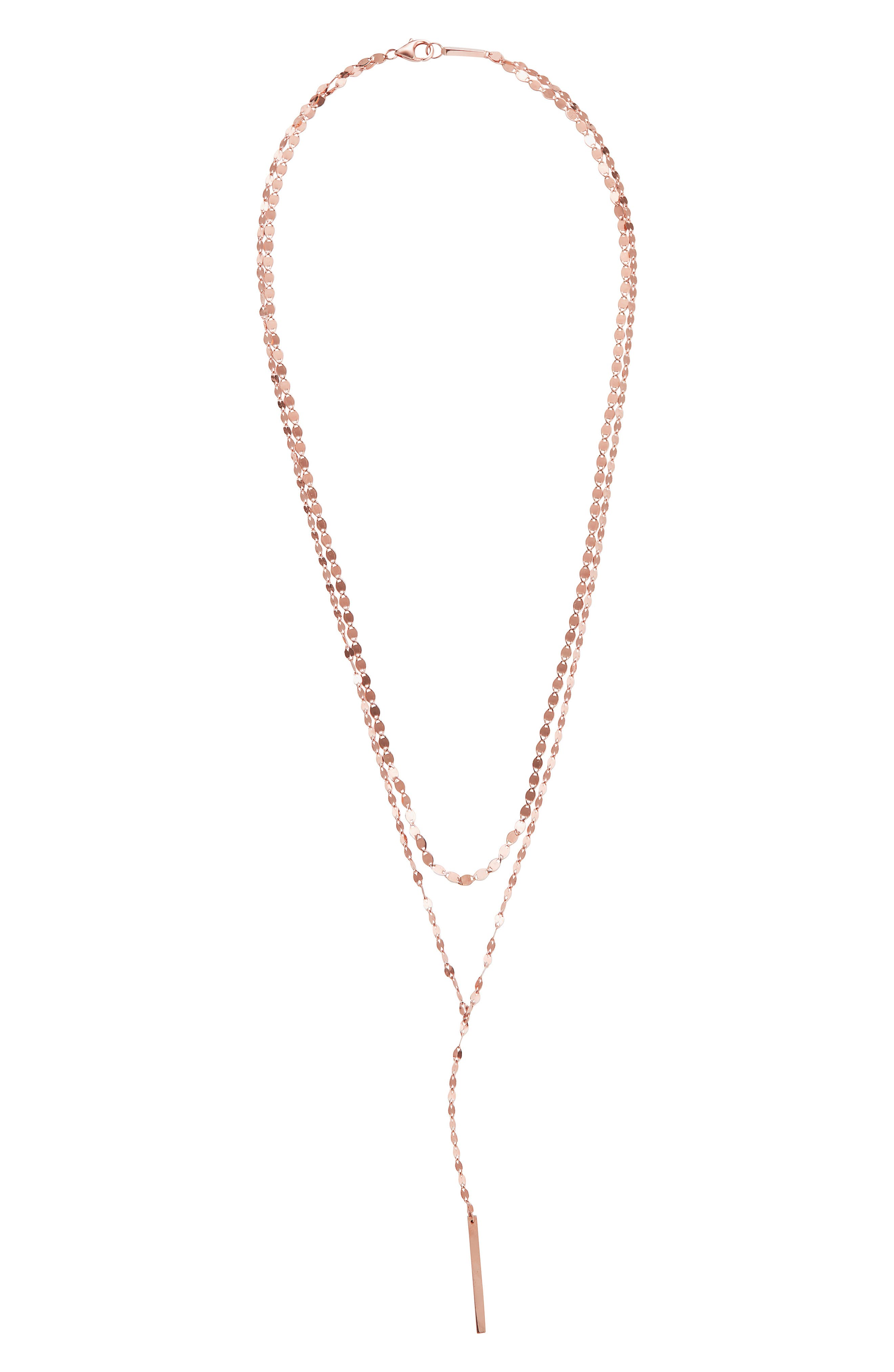 LANA JEWELRY Y-Necklace in Rose Gold