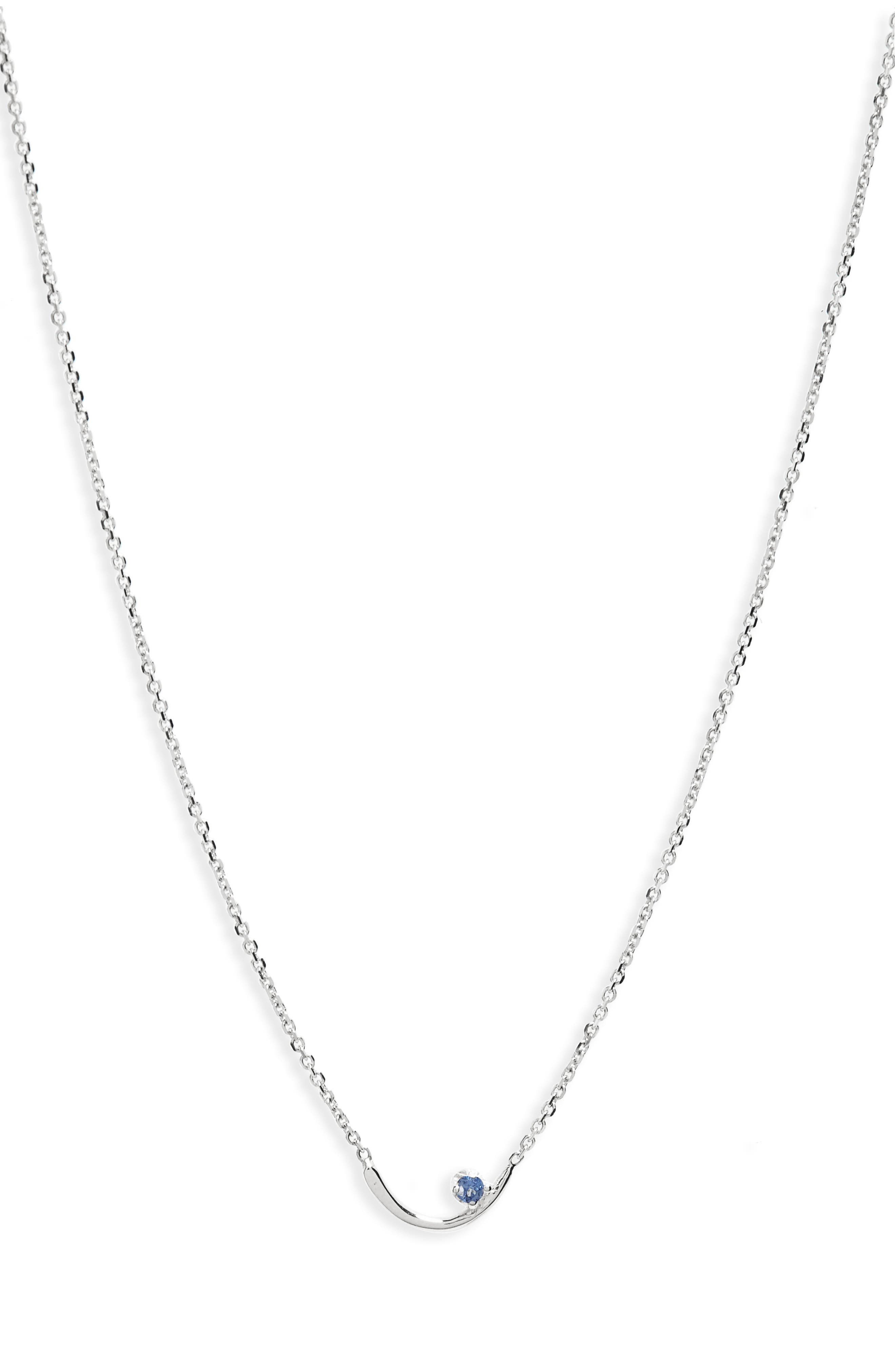 Arc Lineage Necklace,                         Main,                         color, STERLING SILVER/LIGHT SAPPHIRE