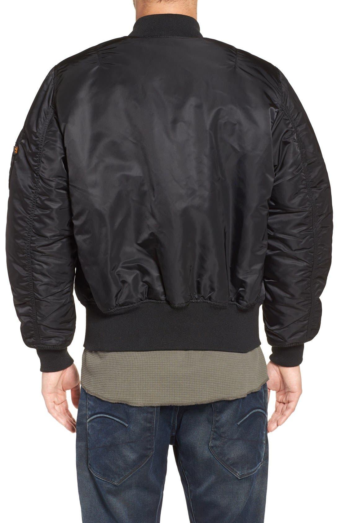 'MA-1' Slim Fit Bomber Jacket,                             Alternate thumbnail 3, color,                             BLACK