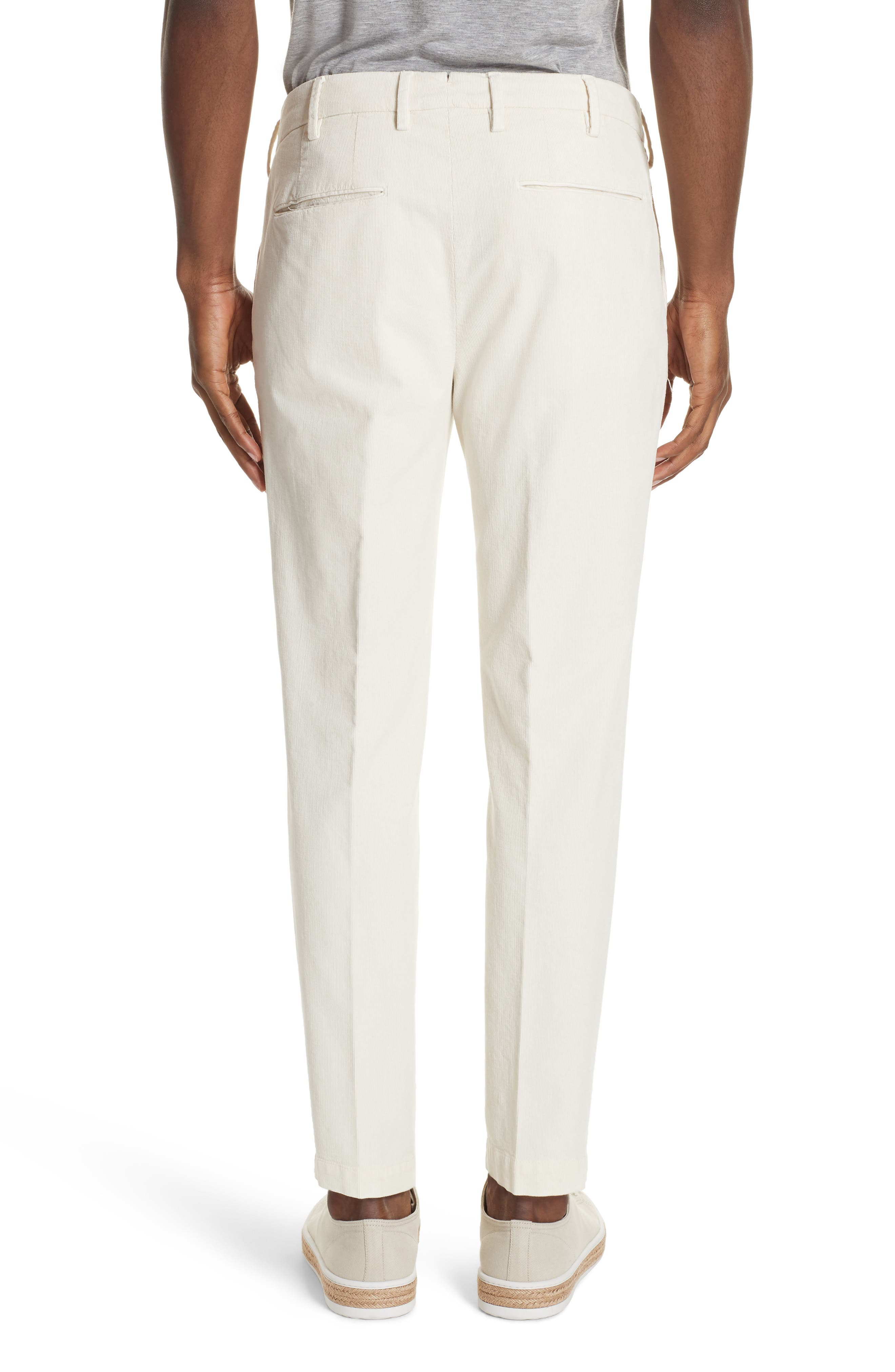 Flat Front Stretch Solid Cotton Blend Trousers,                             Alternate thumbnail 2, color,                             WINTER WHITE