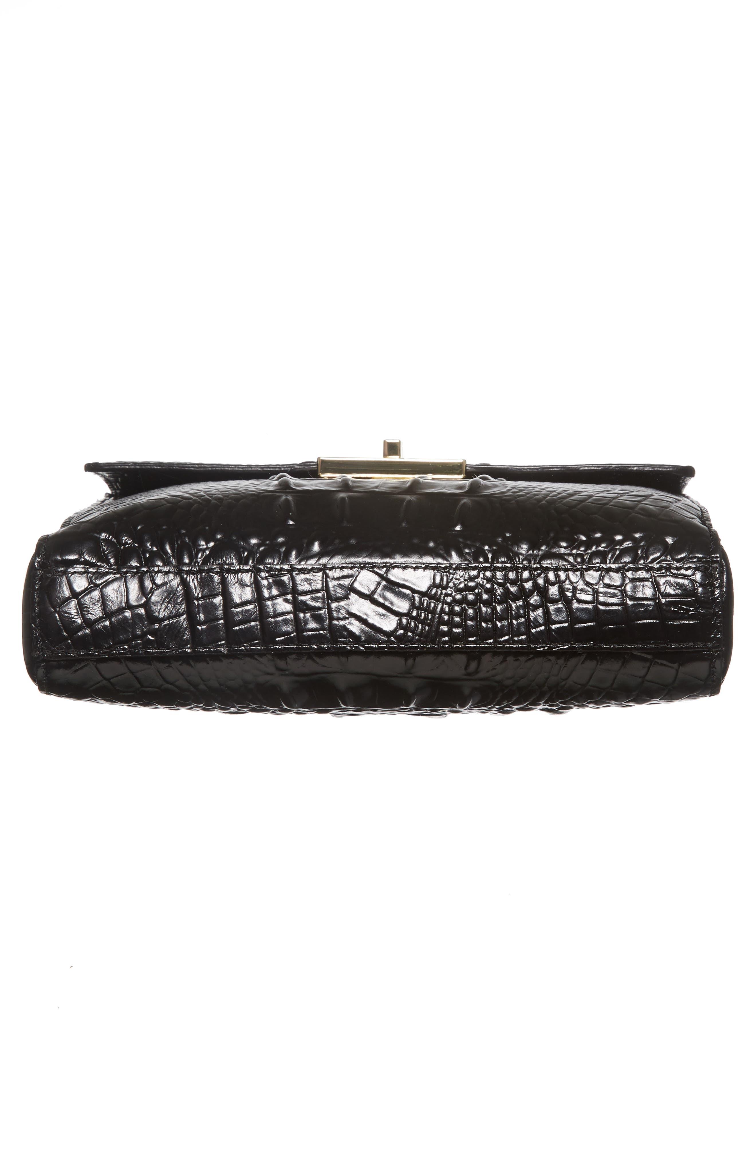 Melbourne Manhattan Croc Embossed Leather Crossbody Bag,                             Alternate thumbnail 6, color,                             BLACK
