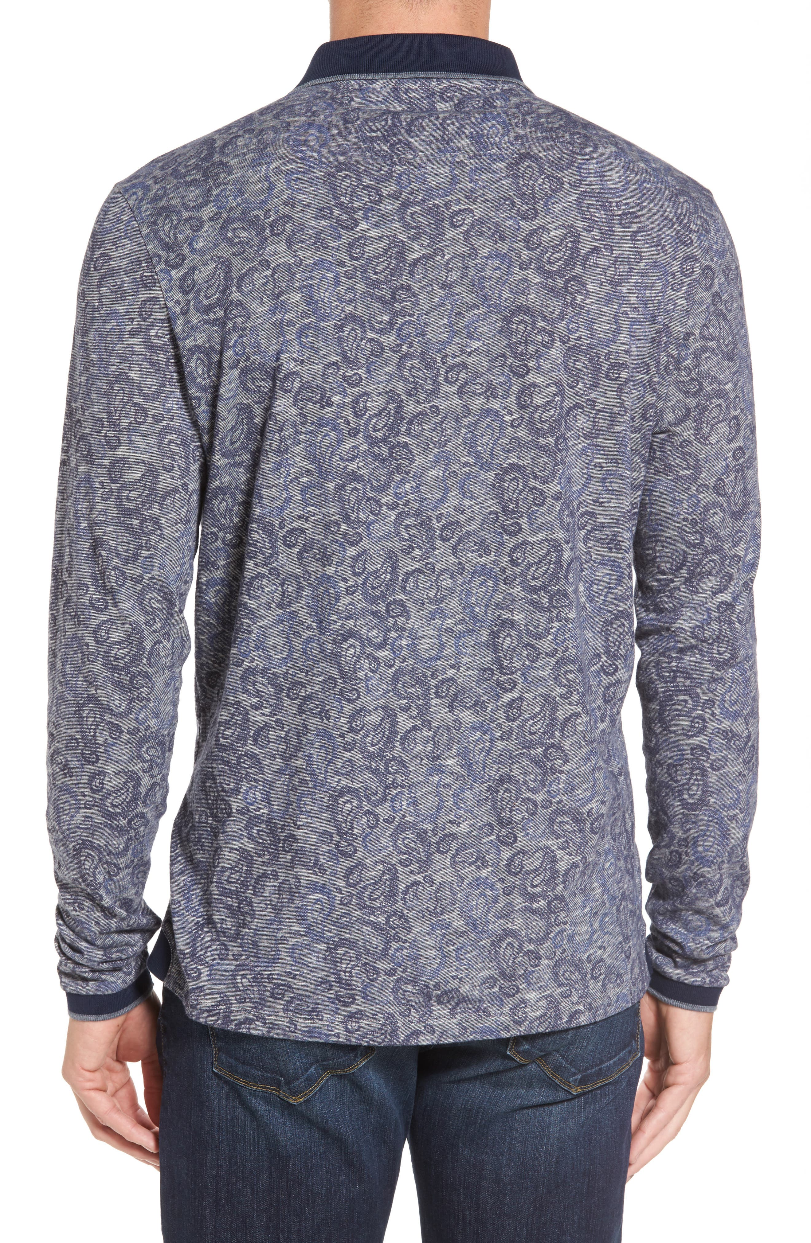 Slim Fit Paisley Long Sleeve Polo,                             Alternate thumbnail 2, color,