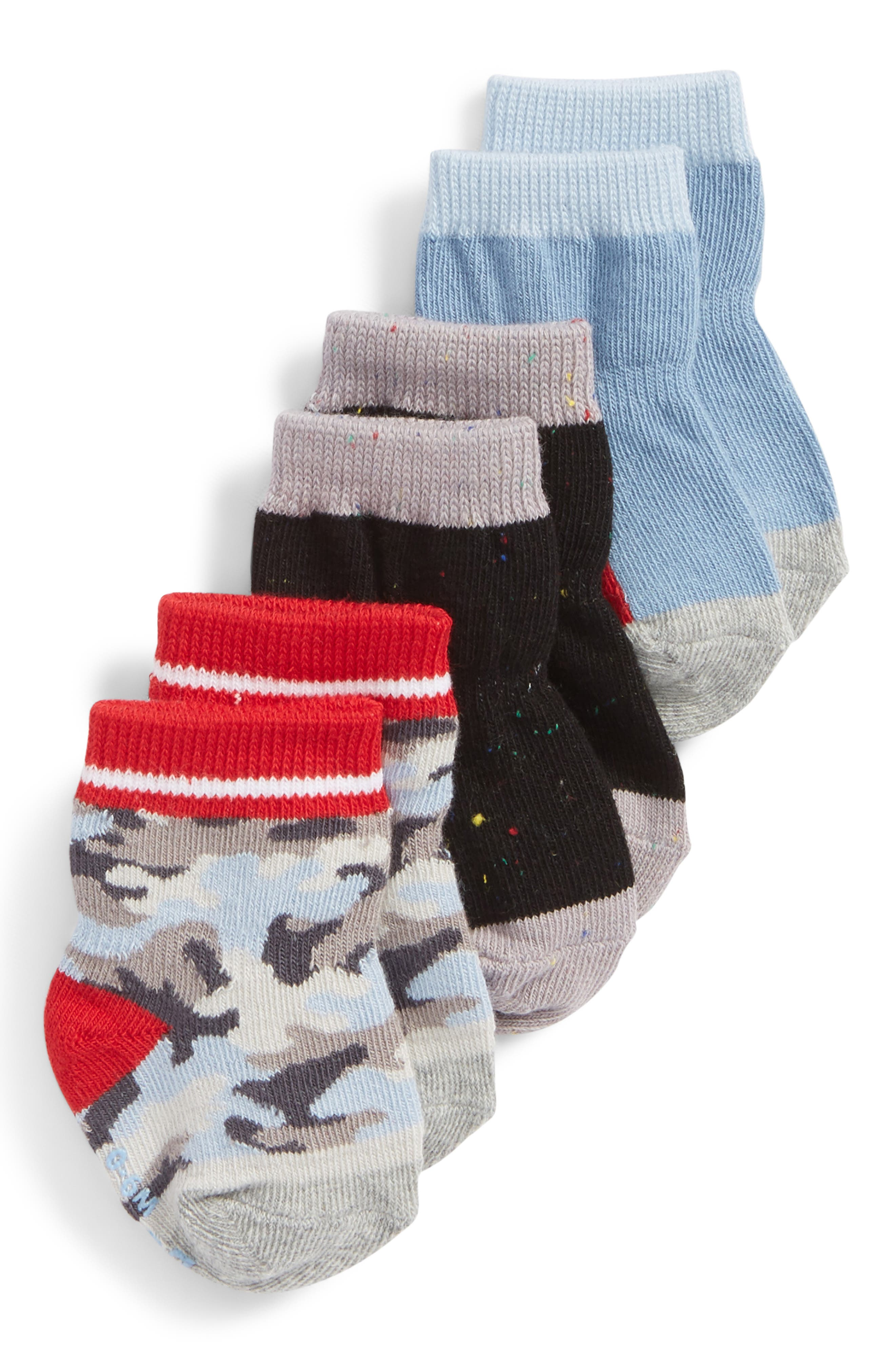 Camo 3-Pack Socks,                             Main thumbnail 1, color,                             GRAY/ BLUE/ RED