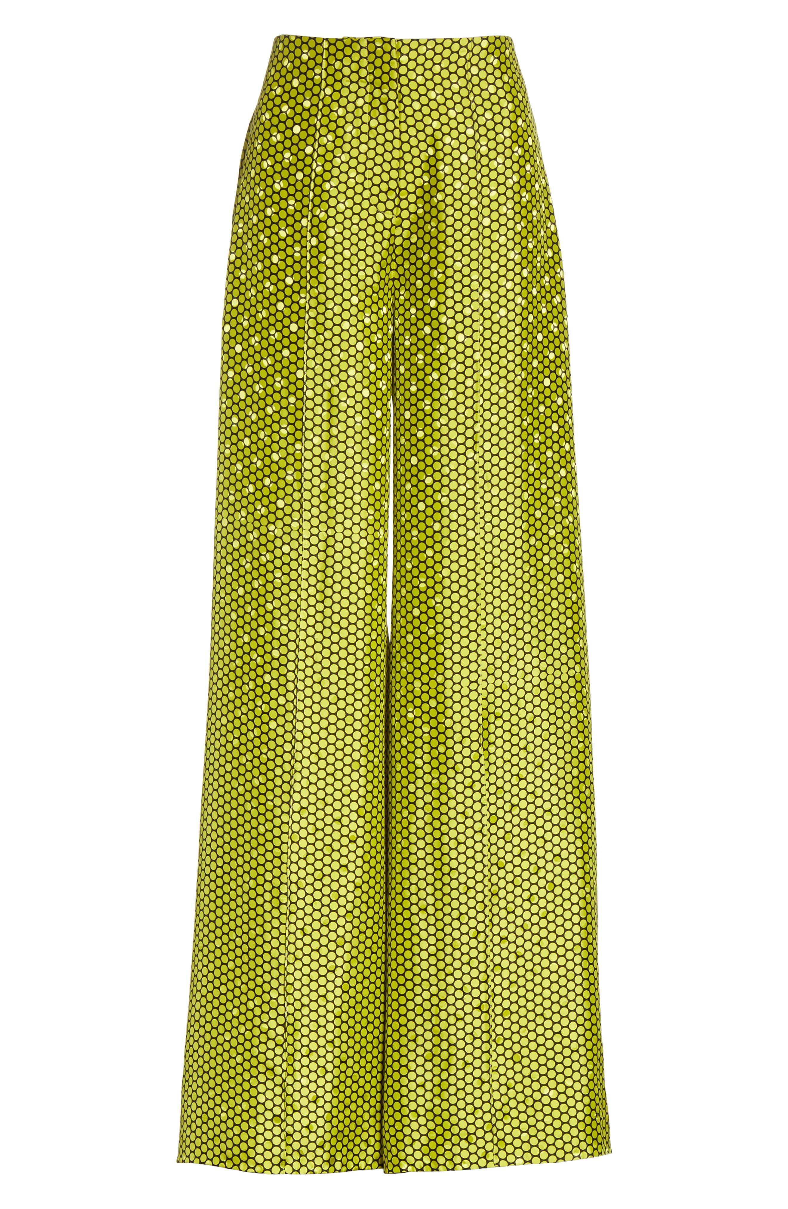 Diane von Furstenberg Dot Silk Palazzo Pants,                             Alternate thumbnail 6, color,                             390
