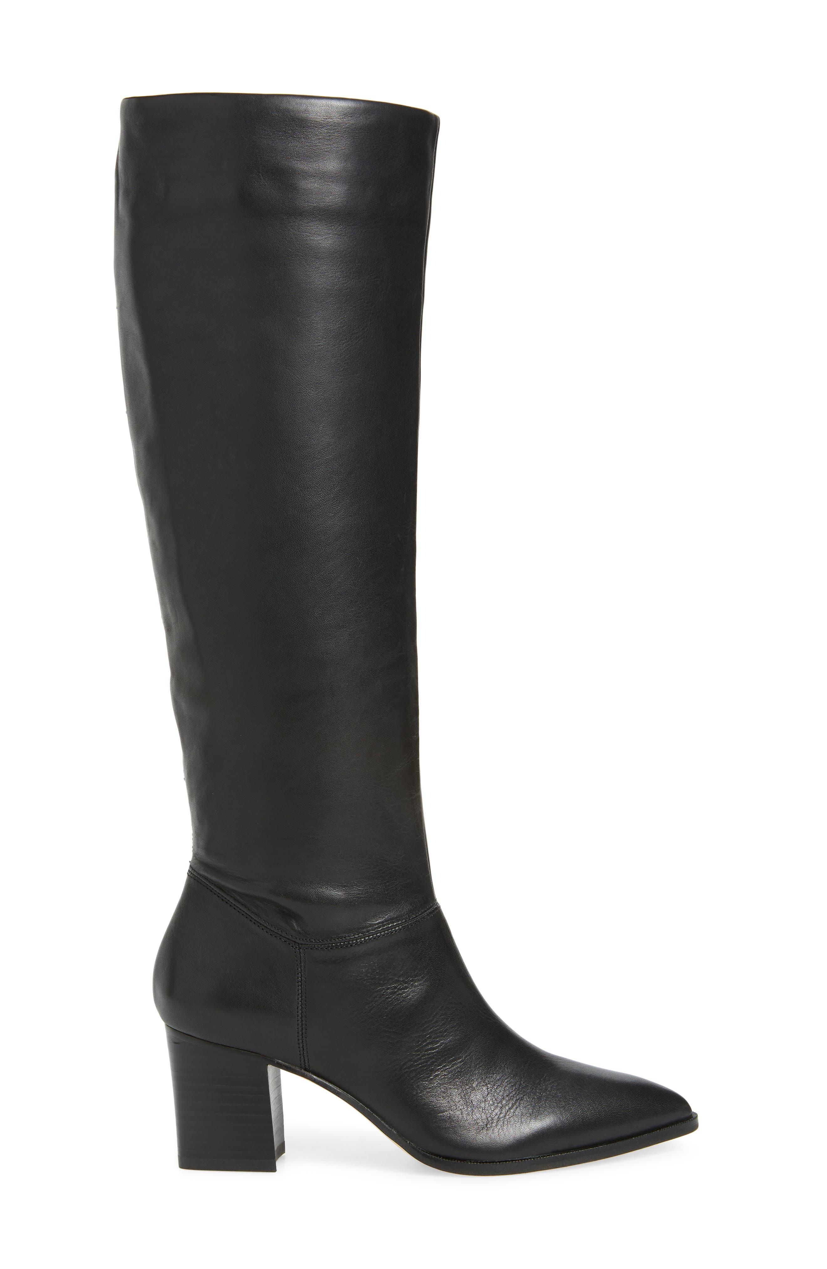 Danilynn Knee High Boot,                             Alternate thumbnail 3, color,                             BLACK LEATHER