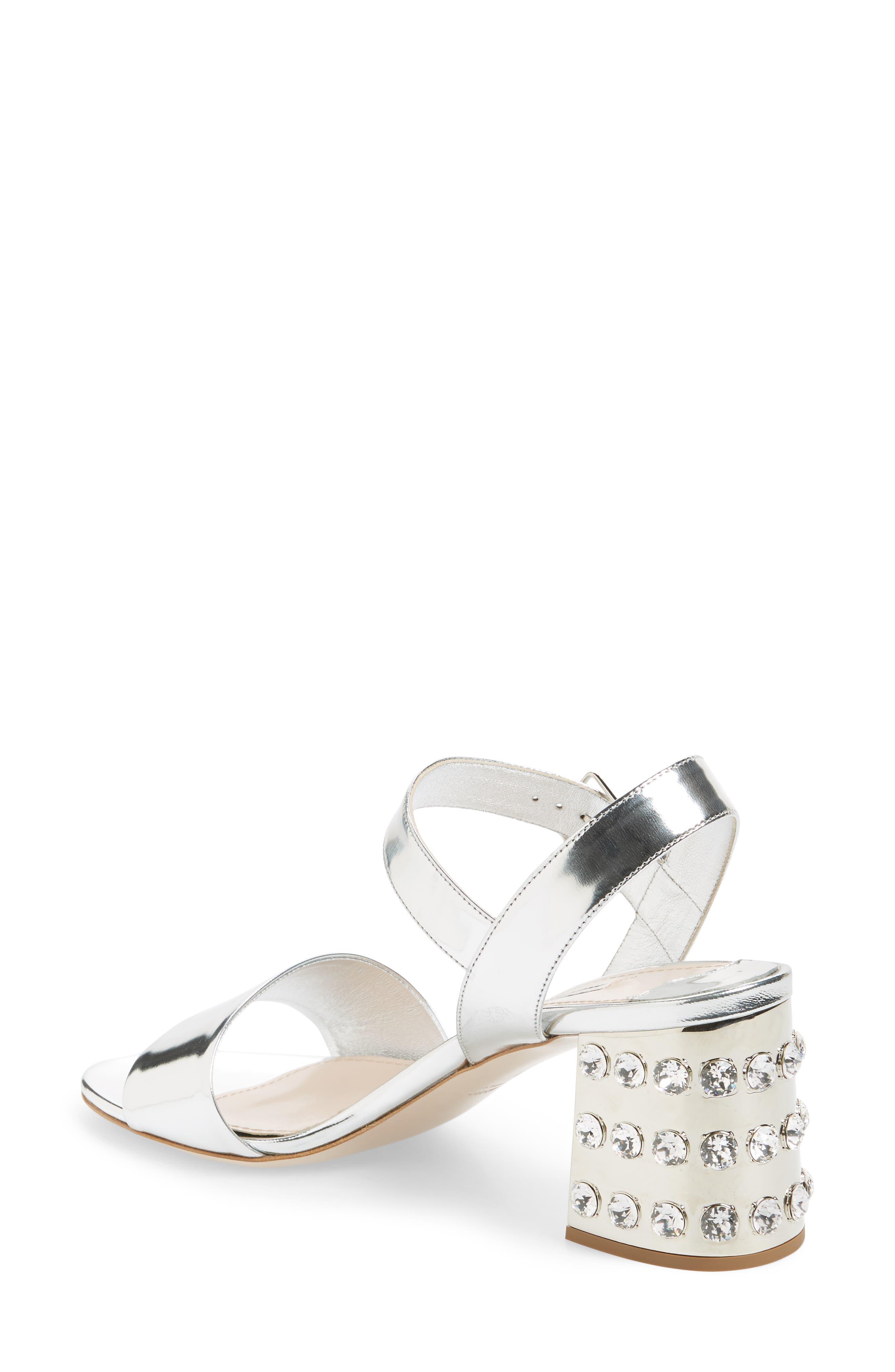 Crystal Embellished Block Heel Sandal,                             Alternate thumbnail 4, color,