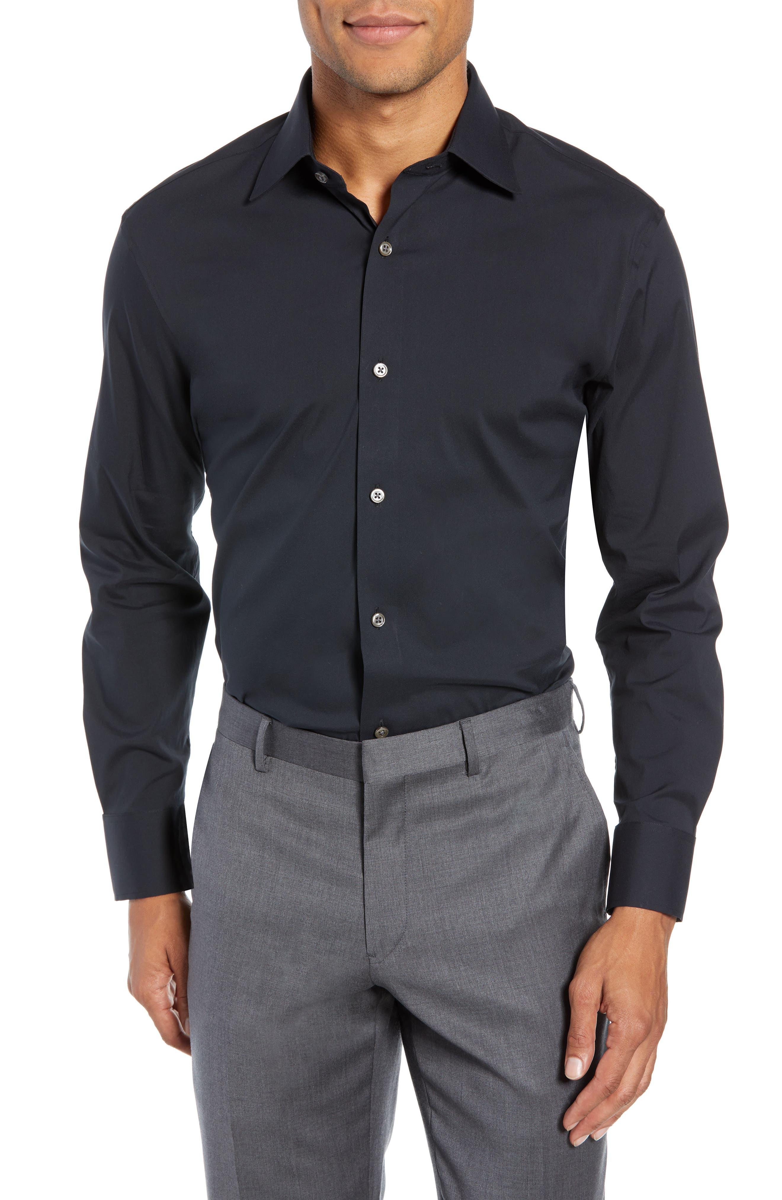 Jetsetter Slim Fit Solid Dress Shirt,                             Main thumbnail 1, color,                             BLACK