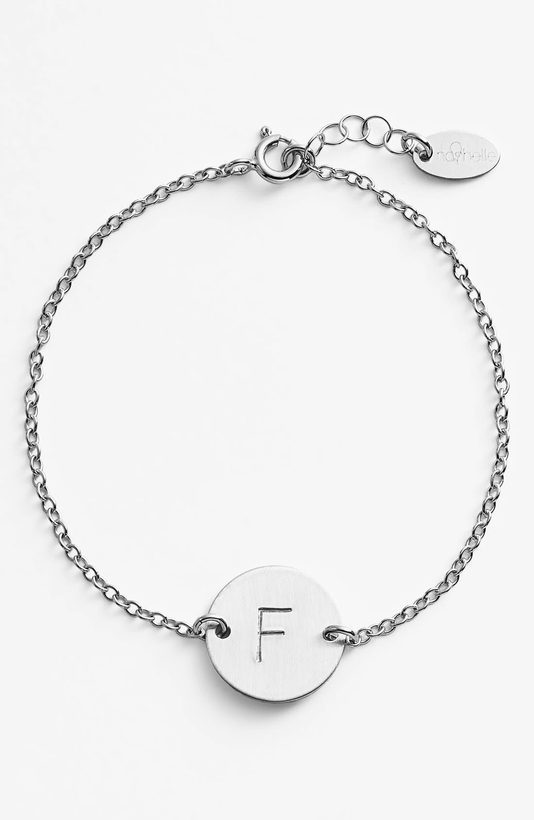 Sterling Silver Initial Disc Bracelet,                             Main thumbnail 1, color,                             STERLING SILVER F