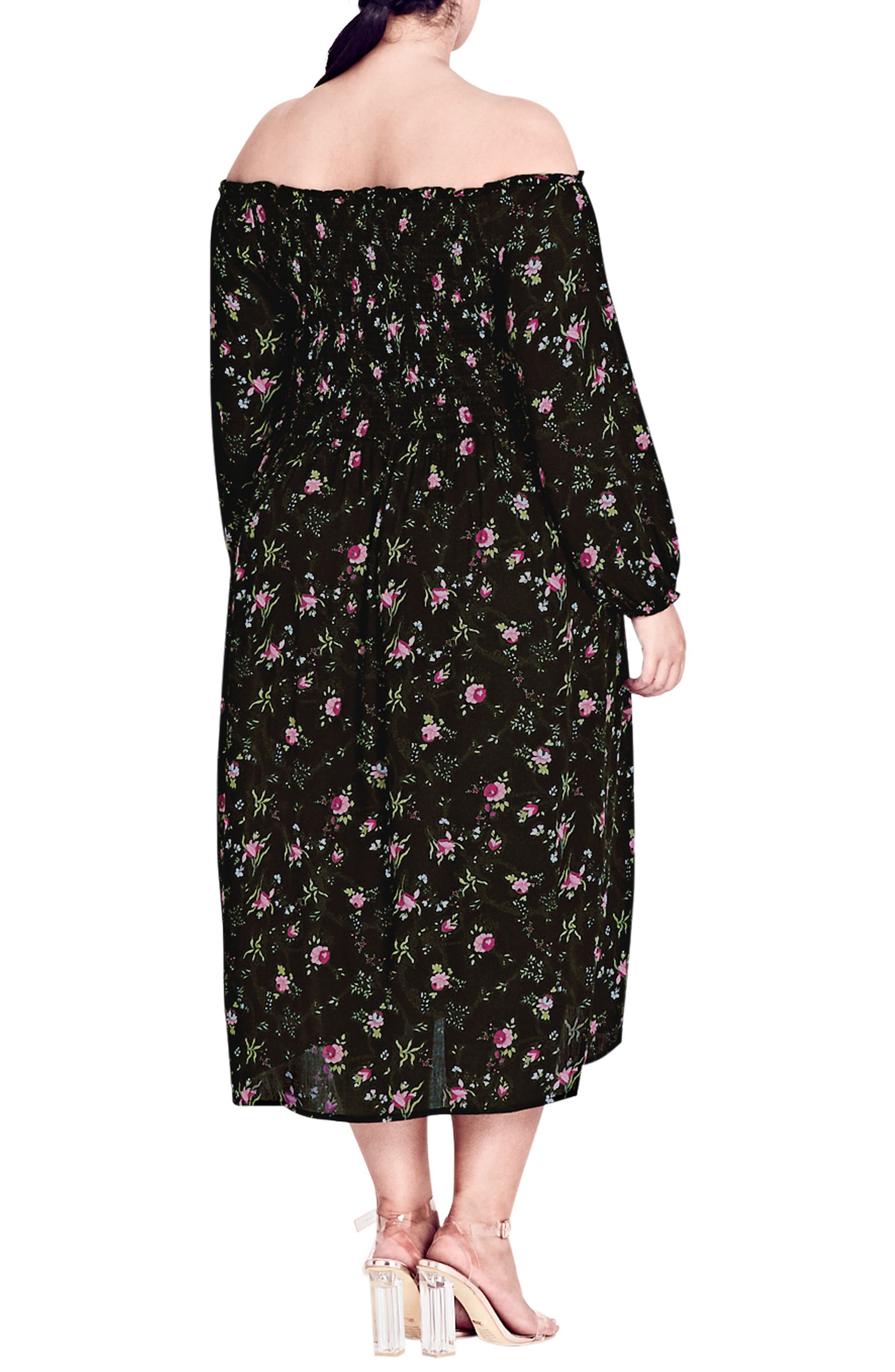 CITY CHIC,                             Garden Floral Off the Shoulder Dress,                             Alternate thumbnail 2, color,                             001