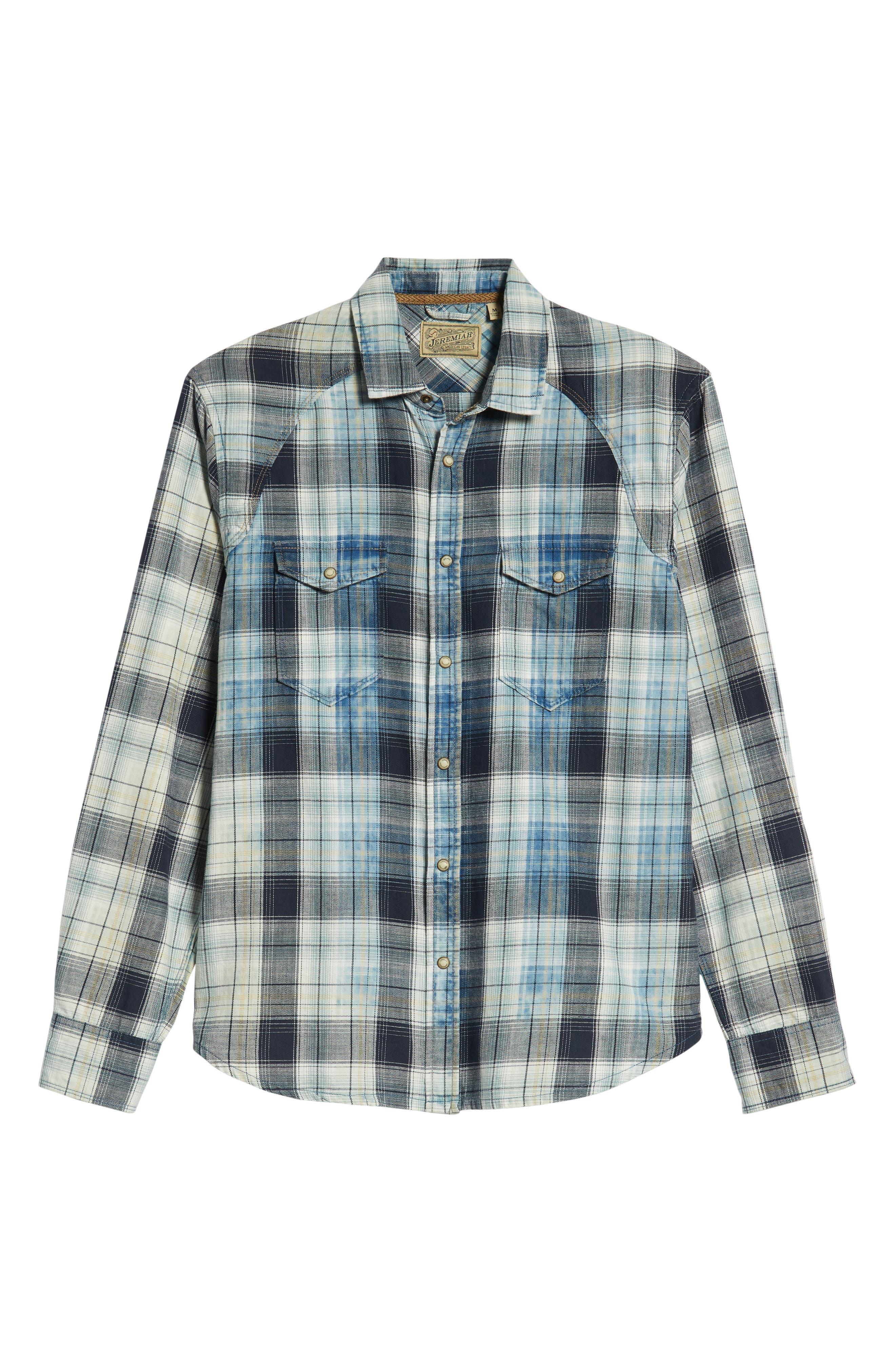 Sawtooth Regular Fit Crosshatch Plaid Shirt,                             Alternate thumbnail 5, color,                             ENSIGN BLUE