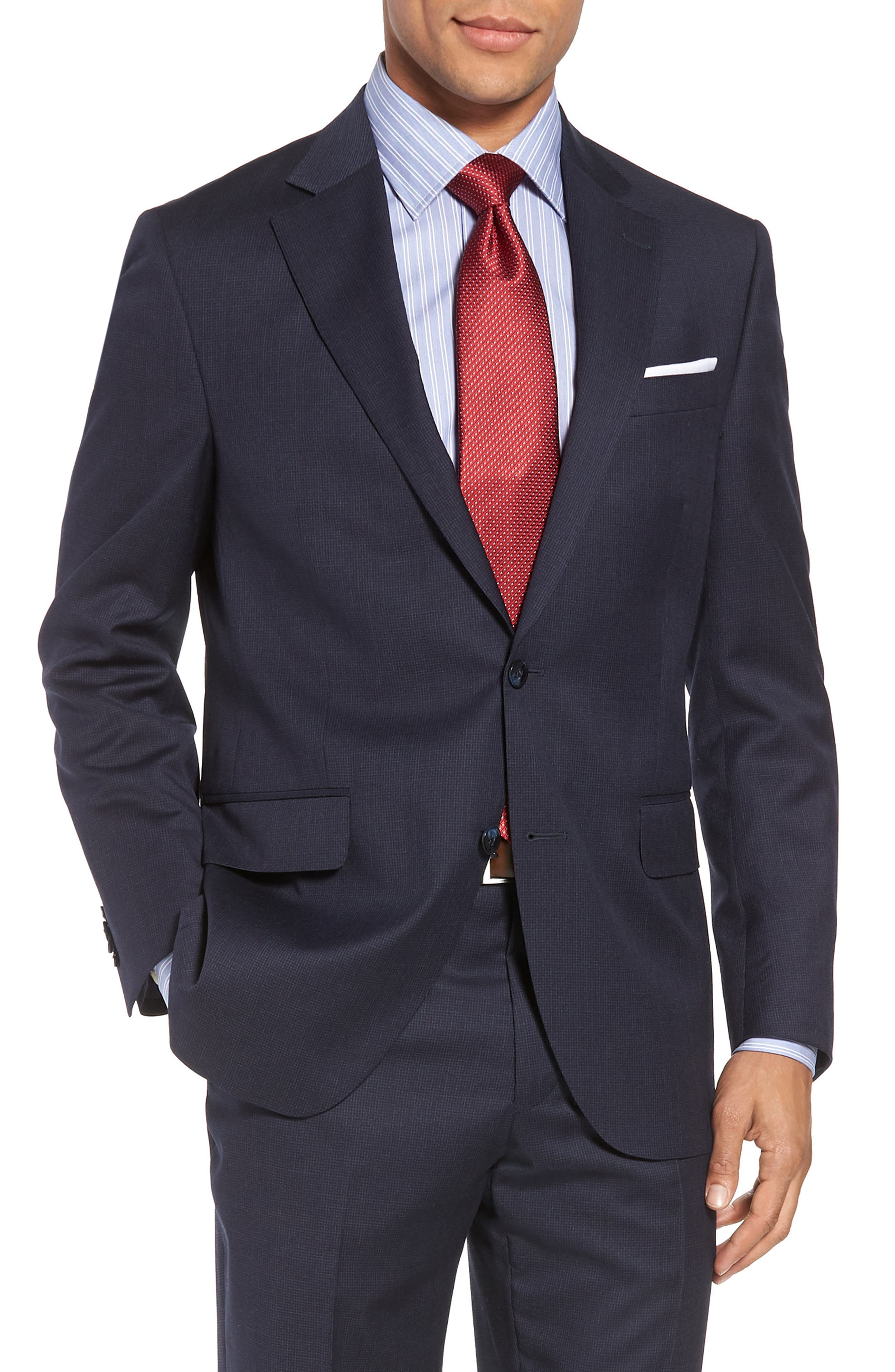 Classic Fit Check Wool Suit,                             Alternate thumbnail 5, color,                             410