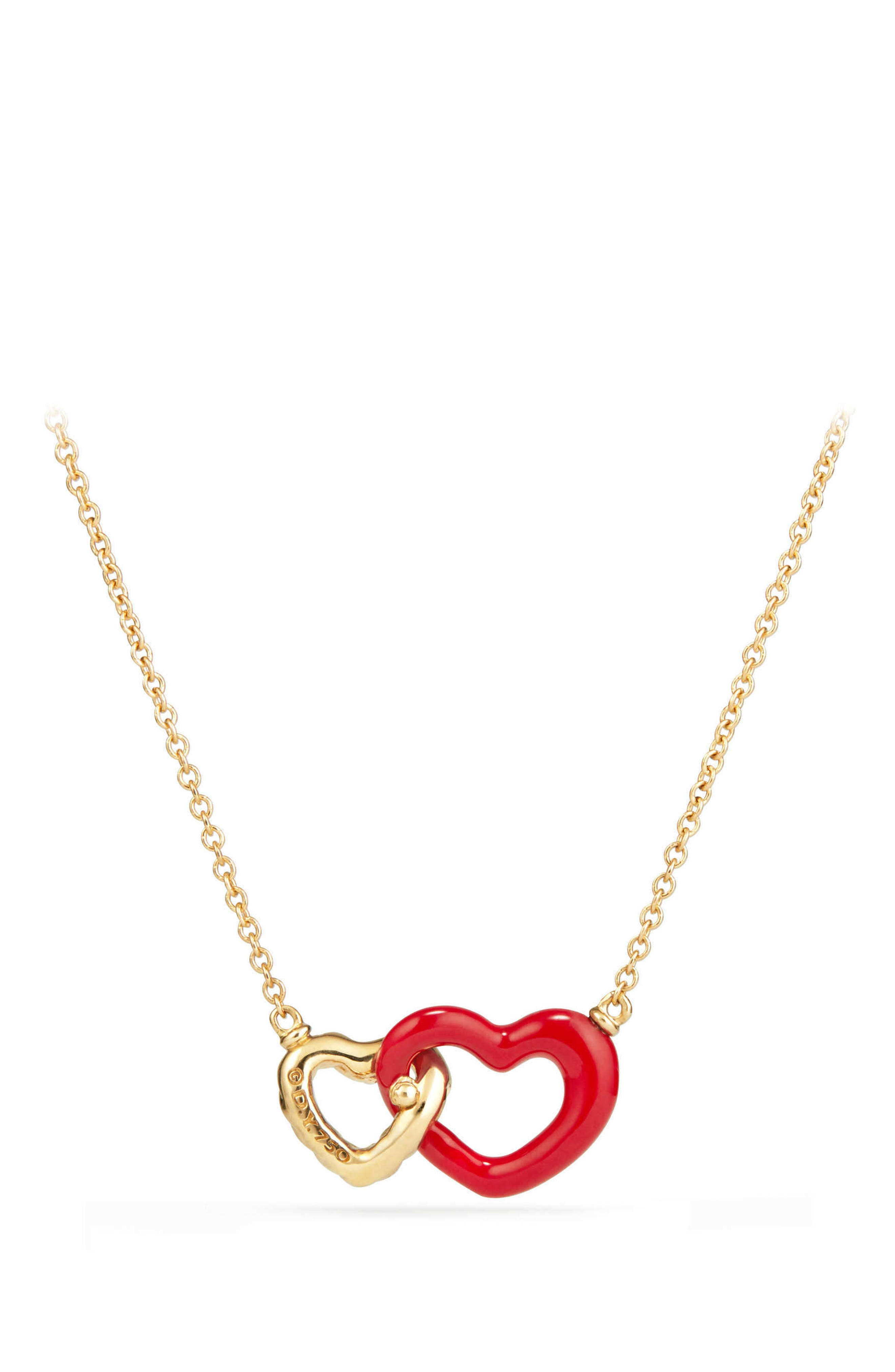 Double Heart Pendant Necklace with Red Enamel and 18K Gold,                             Alternate thumbnail 2, color,                             GOLD