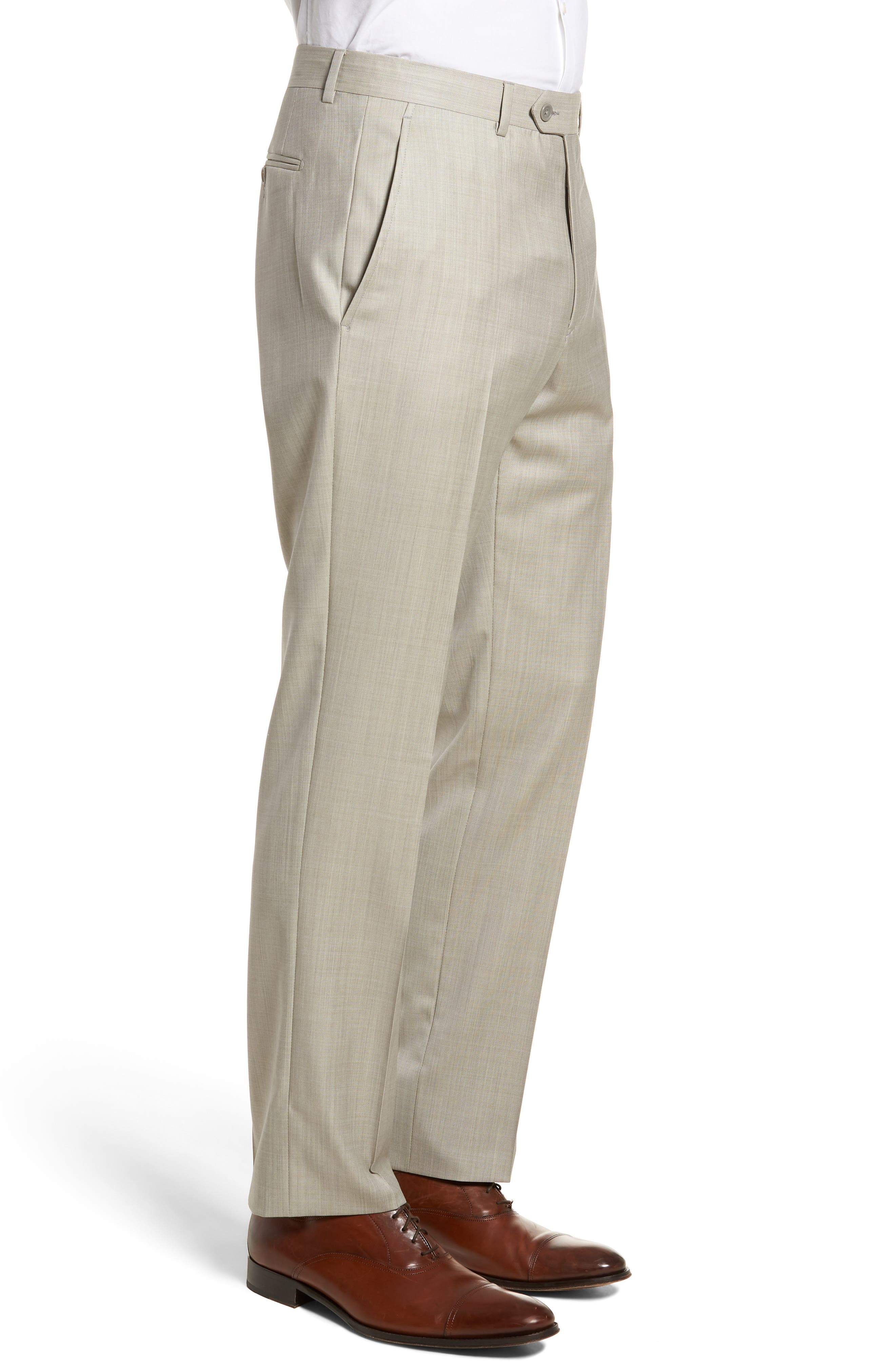 Flat Front Solid Wool Trousers,                             Alternate thumbnail 3, color,