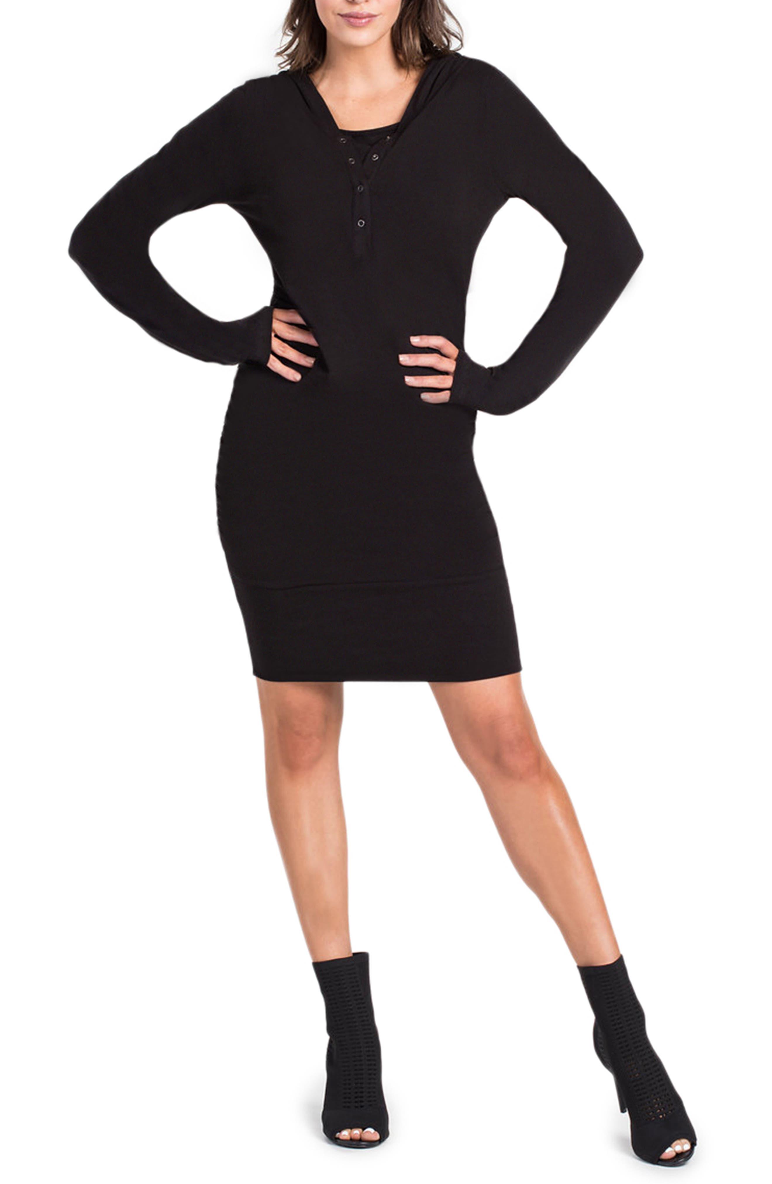 Stella Hoodie Maternity/Nursing Dress,                             Alternate thumbnail 5, color,                             BLACK