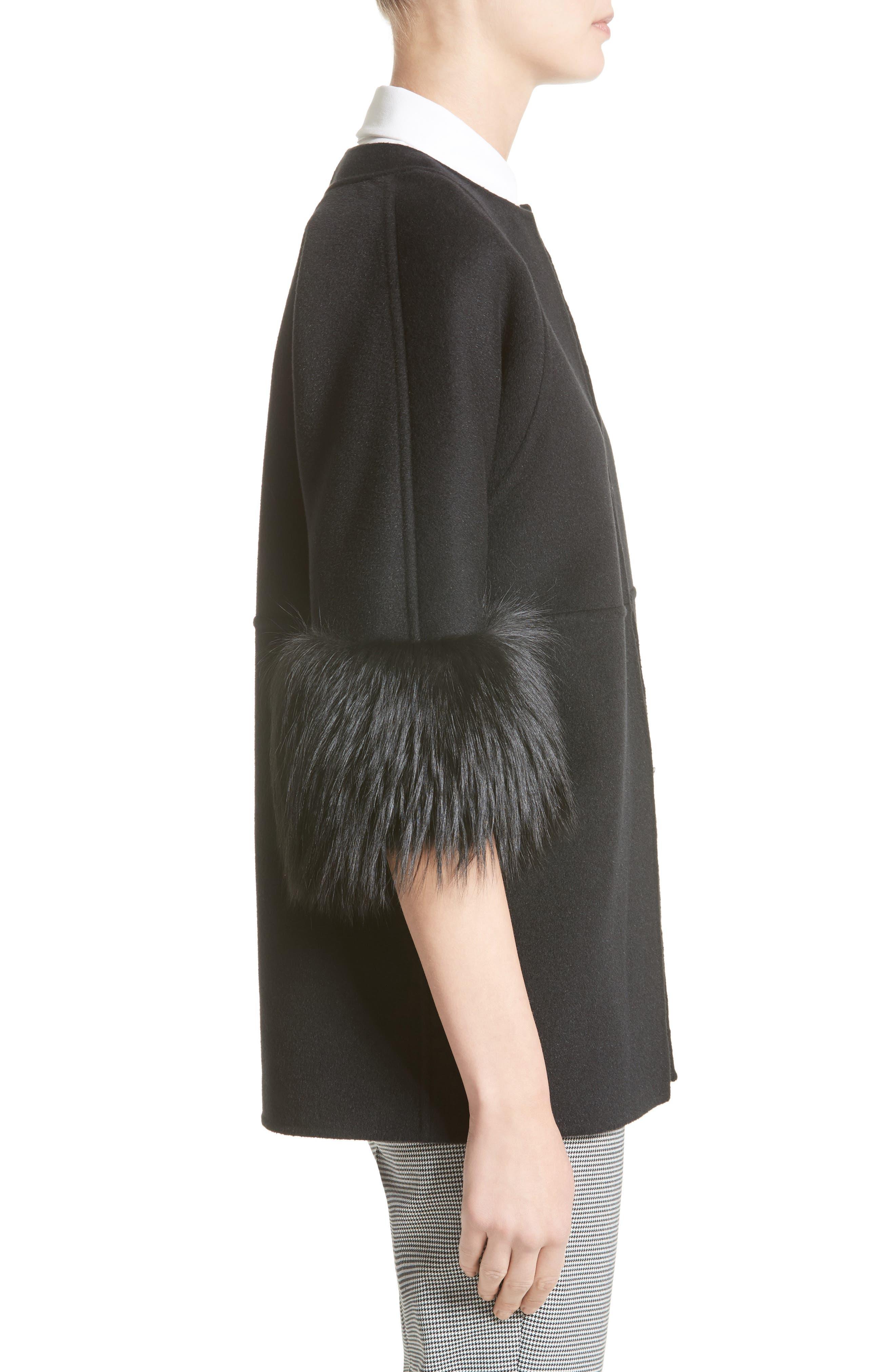 Genuine Fox Fur Trim Wool Blend Jacket,                             Alternate thumbnail 3, color,                             001