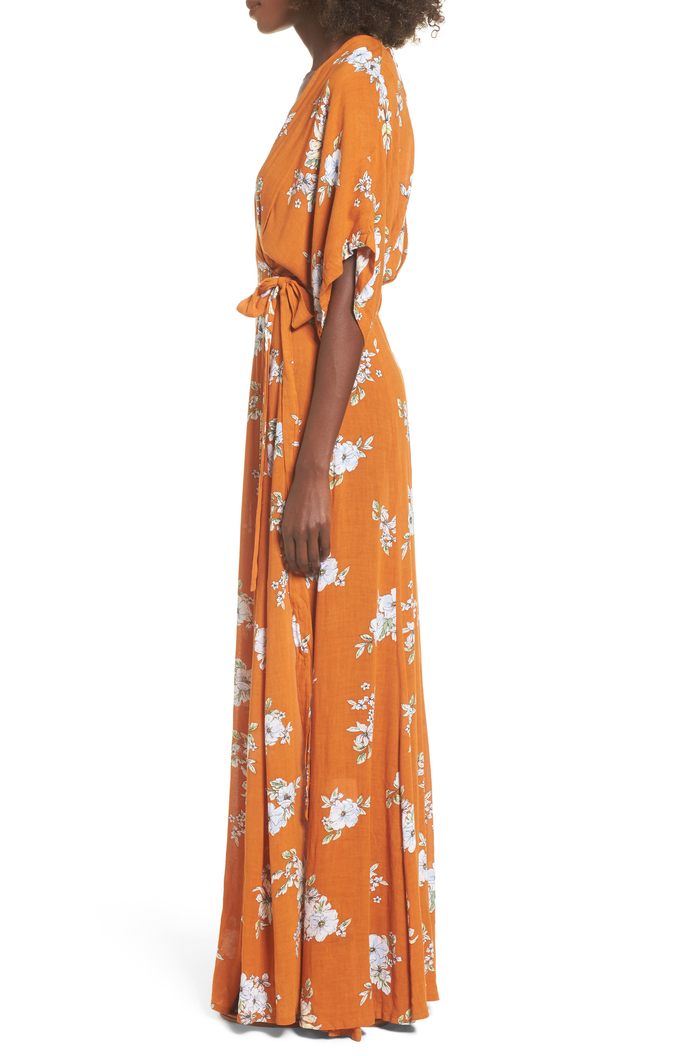 Bergamo Floral Wrap Maxi Dress,                             Alternate thumbnail 3, color,
