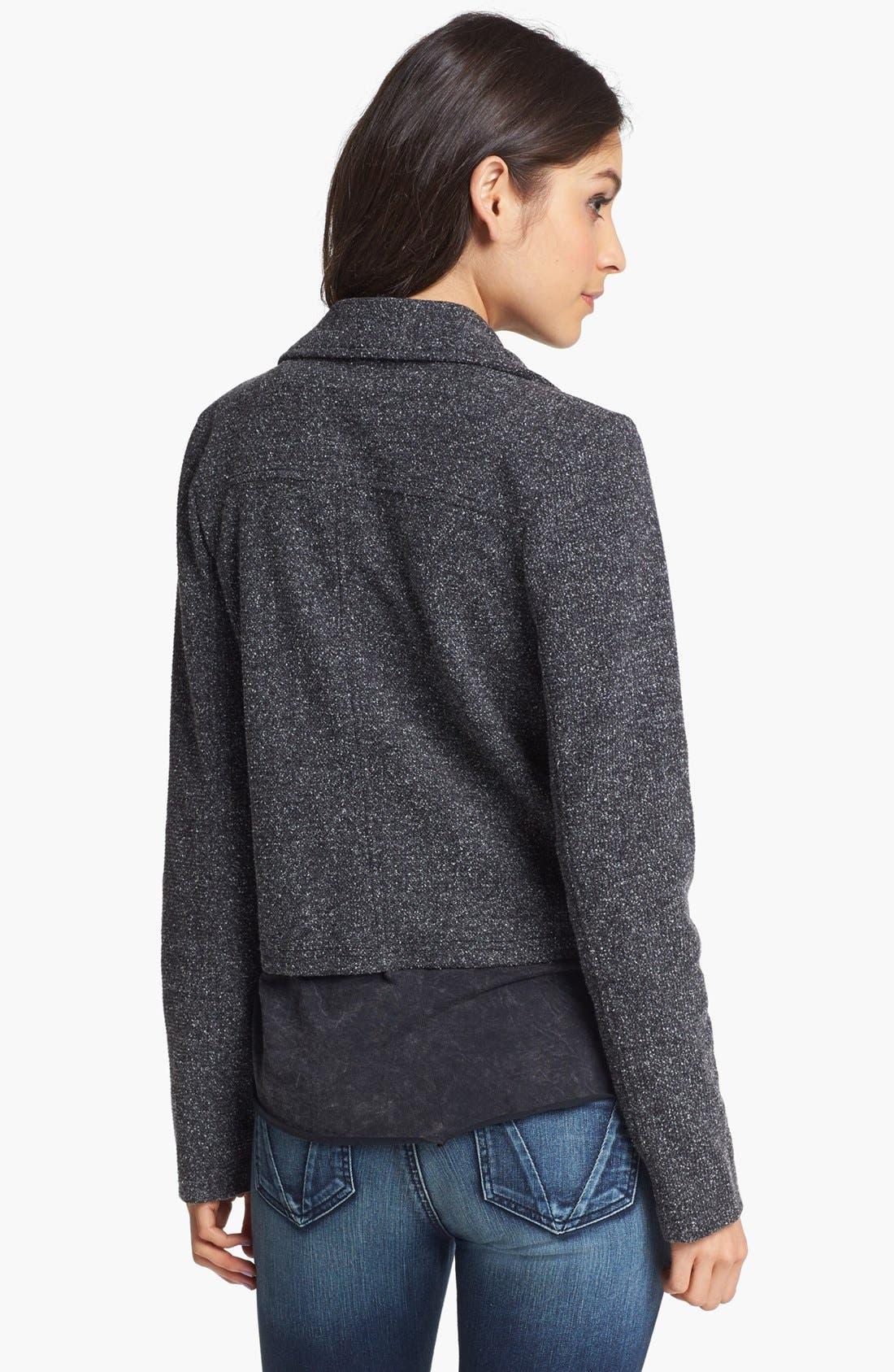 ORIGINAL FRENCHI,                             Faux Leather Lapel Tweed Moto Jacket,                             Alternate thumbnail 3, color,                             001