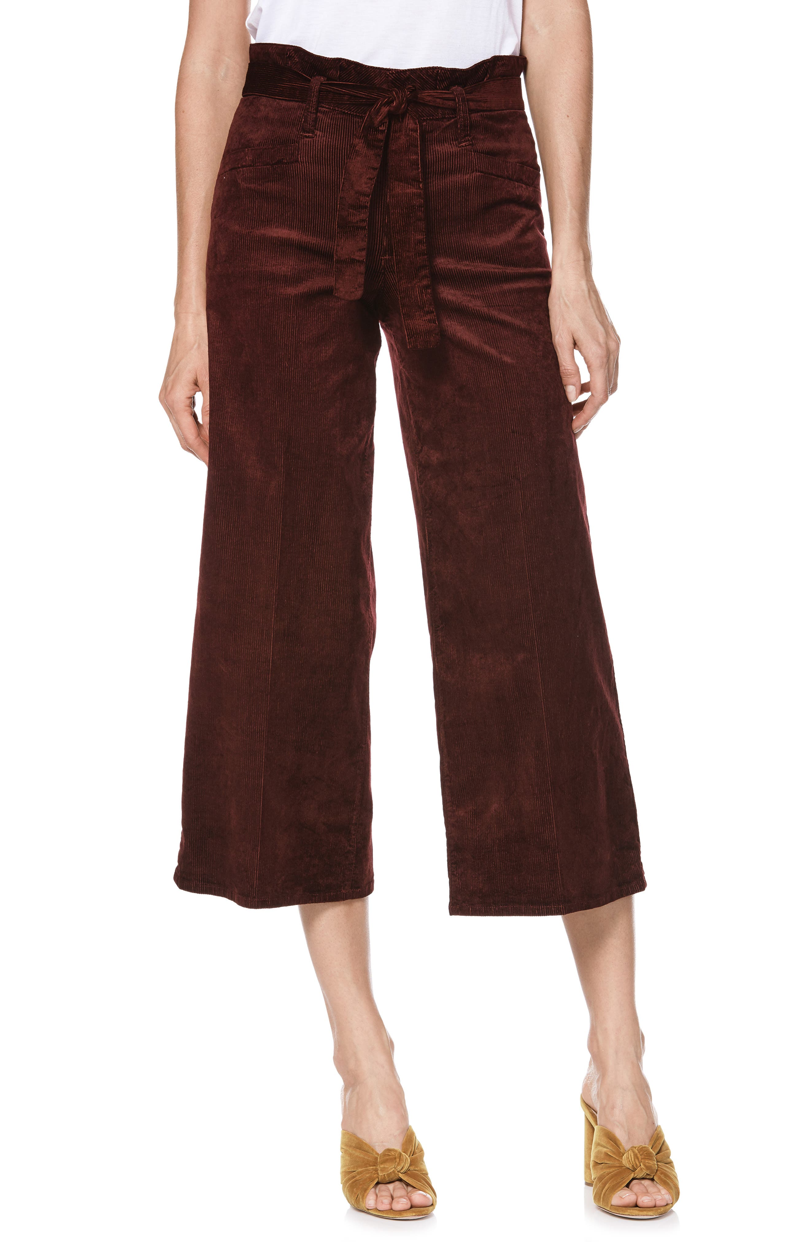 Sutton Paperbag Crop Wide Leg Corduroy Pants,                         Main,                         color, DARK CURRANT