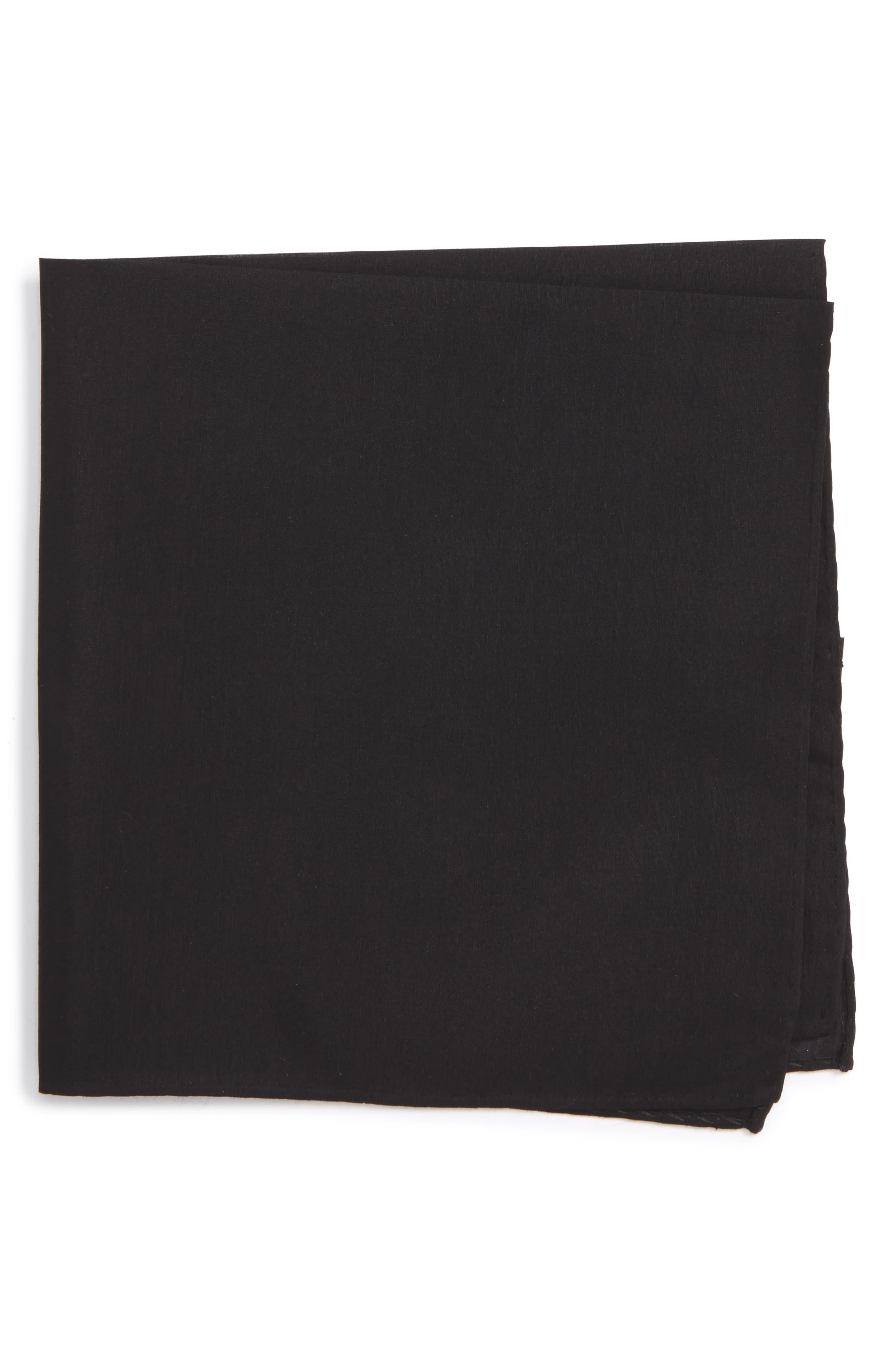 Solid Cotton & Silk Pocket Square,                             Main thumbnail 1, color,                             001