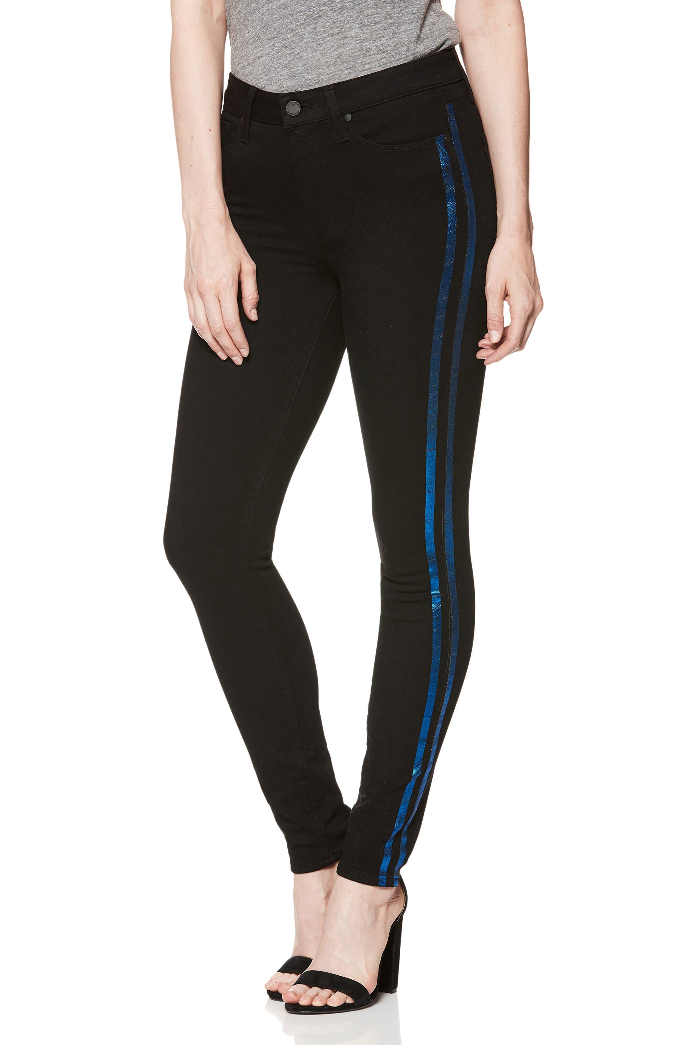 Transcend - Hoxton High Waist Ultra Skinny Jeans,                             Main thumbnail 1, color,                             BLACK SHADOW W/ BLUE