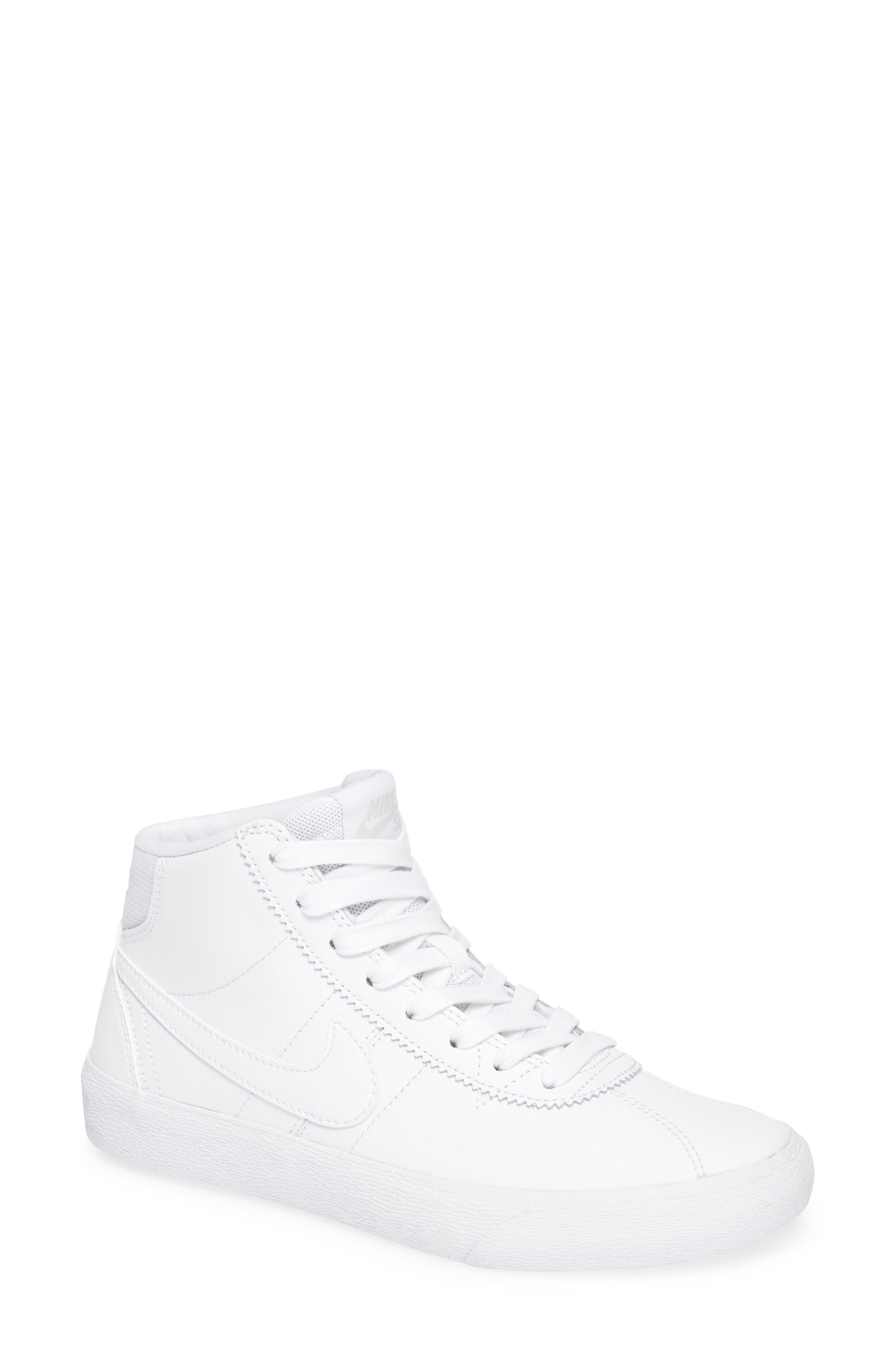 SB Bruin Hi Skateboarding Sneaker,                             Main thumbnail 1, color,                             WHITE/ WHITE/ VAST GREY