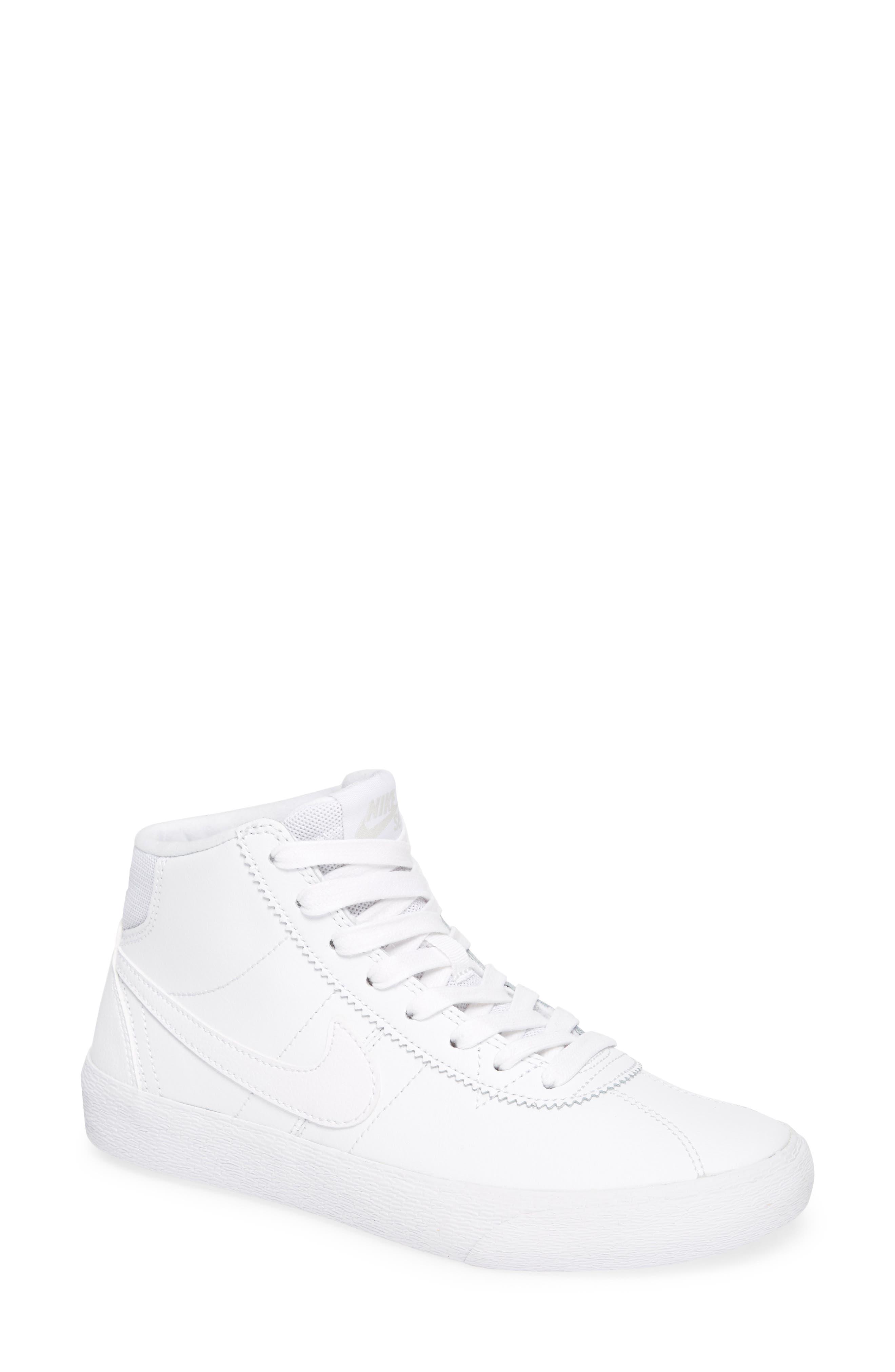 SB Bruin Hi Skateboarding Sneaker,                         Main,                         color, WHITE/ WHITE/ VAST GREY