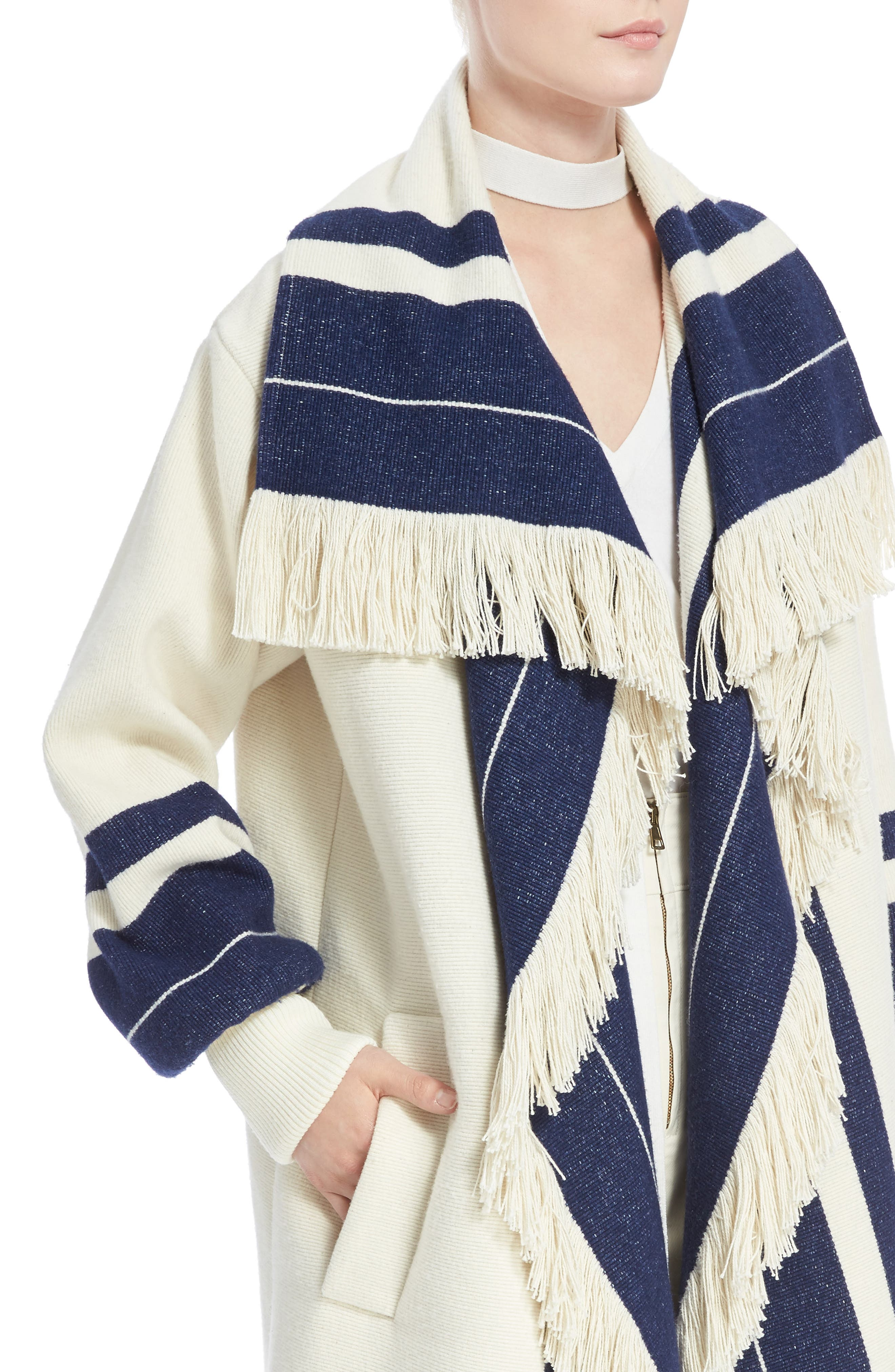 Stripe Blanket Coat,                             Alternate thumbnail 4, color,