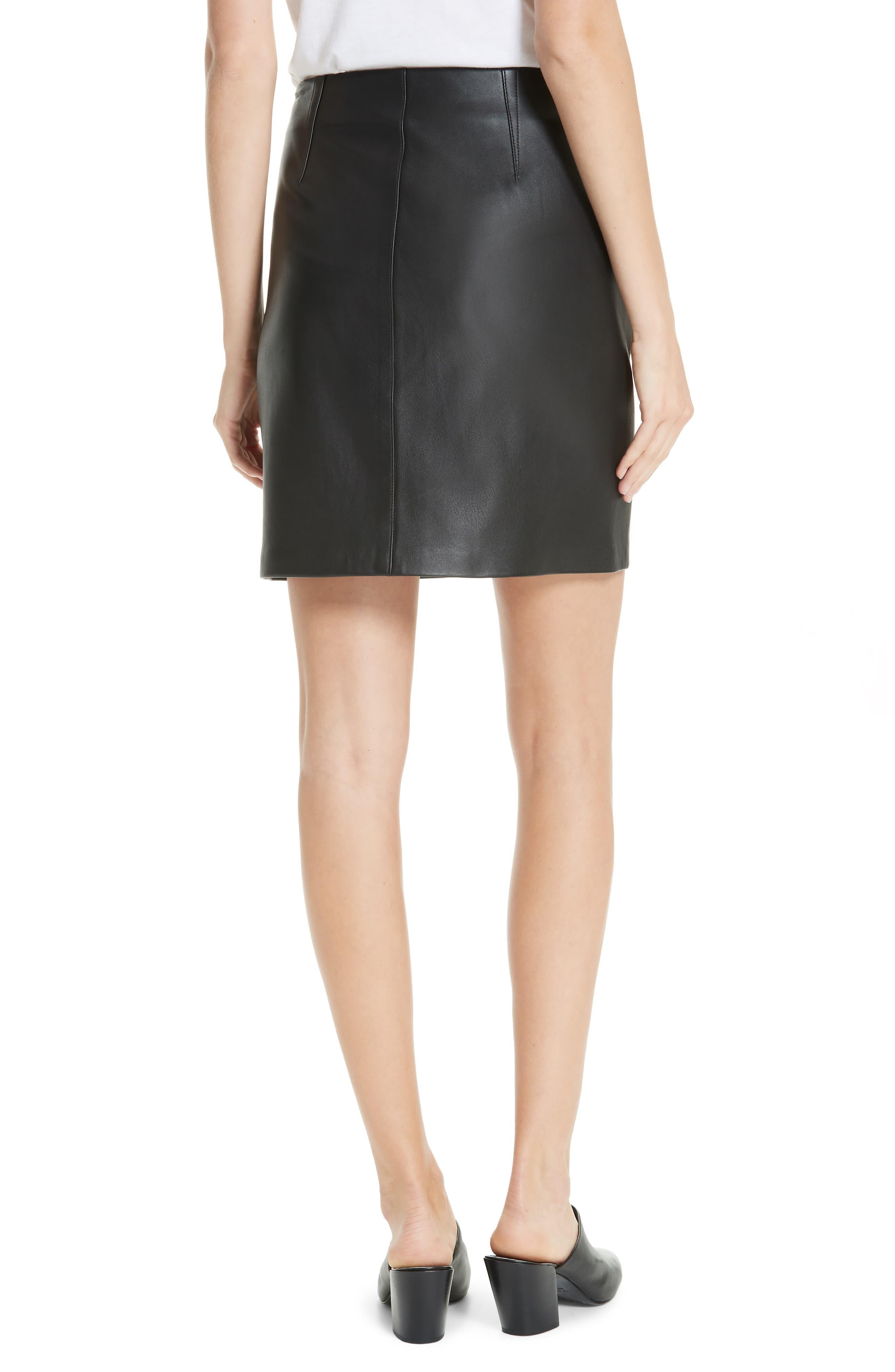 Heidi Leather Skirt,                             Alternate thumbnail 2, color,                             BLACK