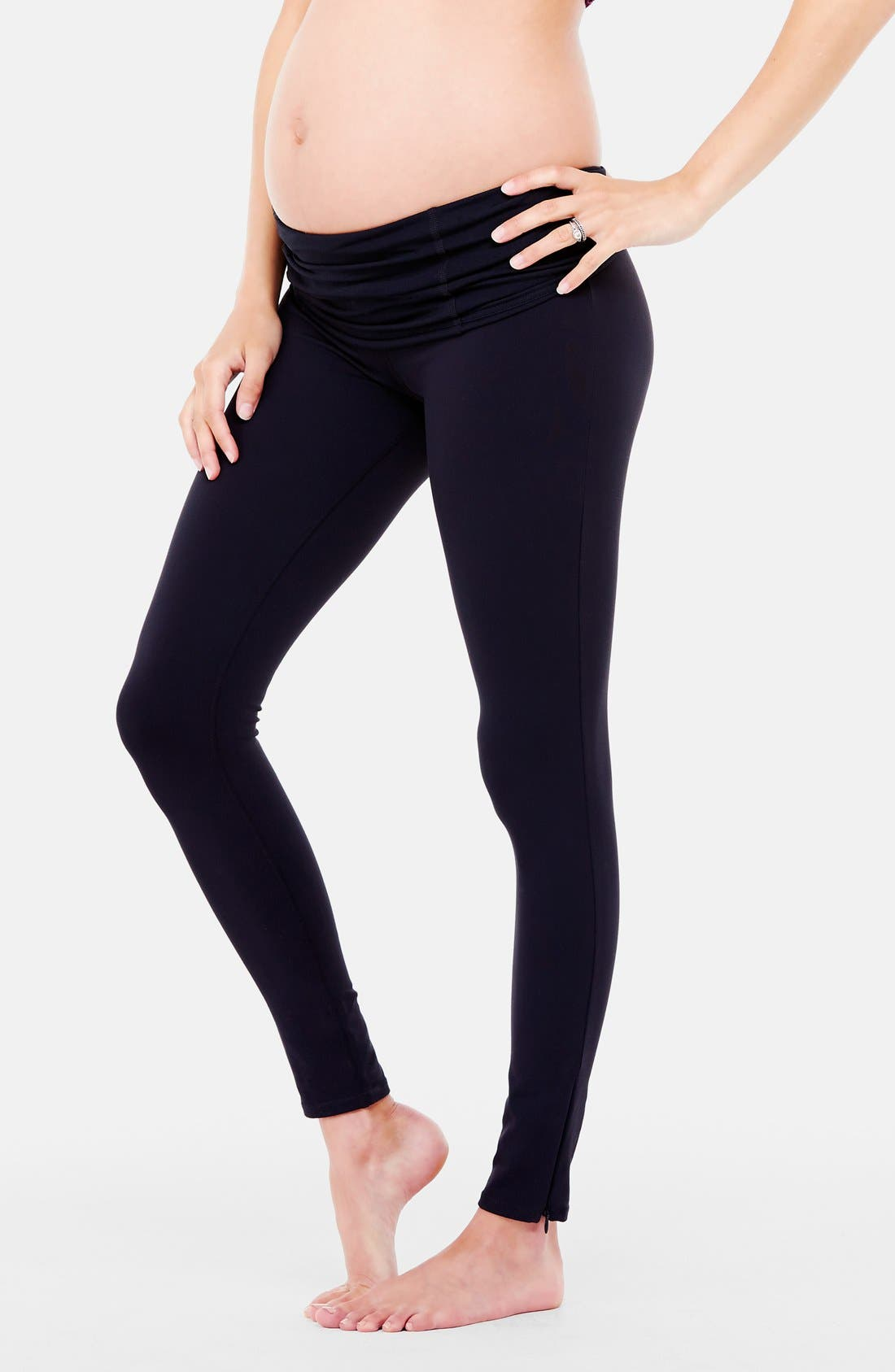 'Active' Maternity Leggings with Crossover Panel,                         Main,                         color, JET BLACK
